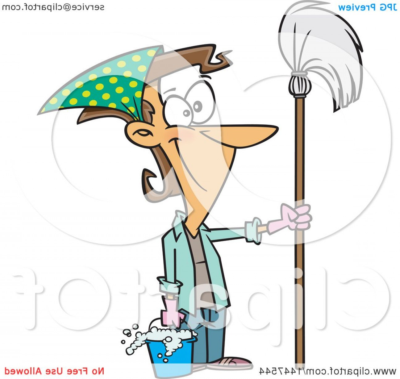 Vector Mop Flower: Cartoon Happy Caucasian Woman Ready For Spring Cleaning Holding A Mop And Bucket