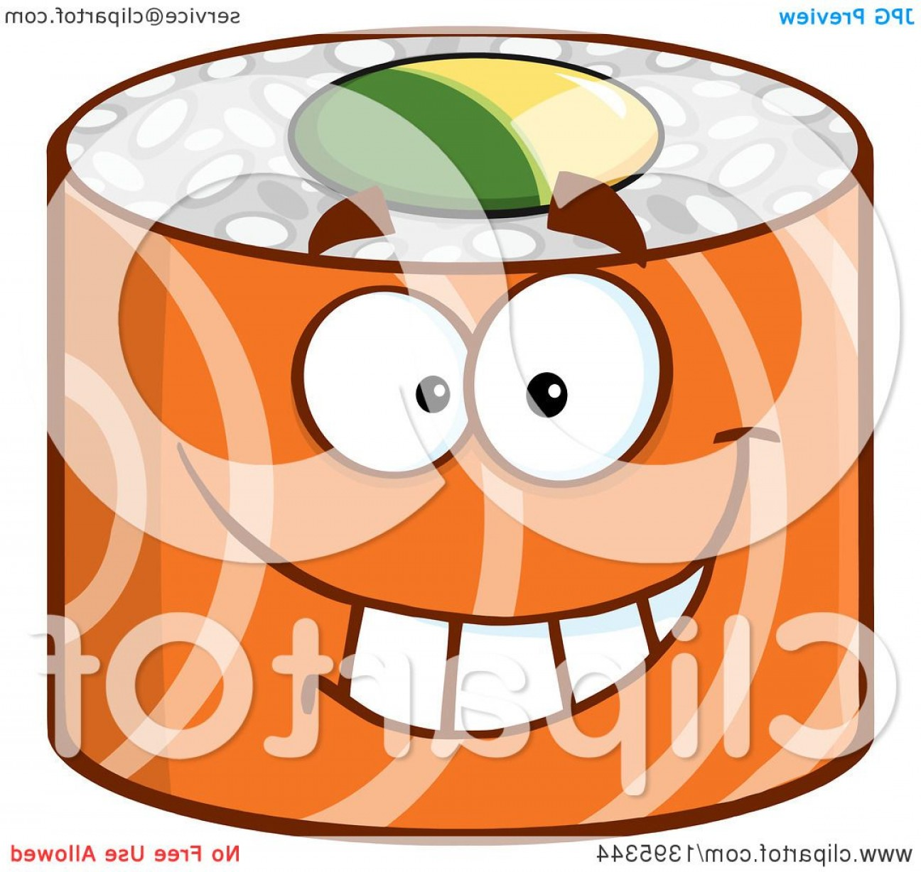 Sushi Vector Art: Cartoon Happy Salmon Sushi Roll Character