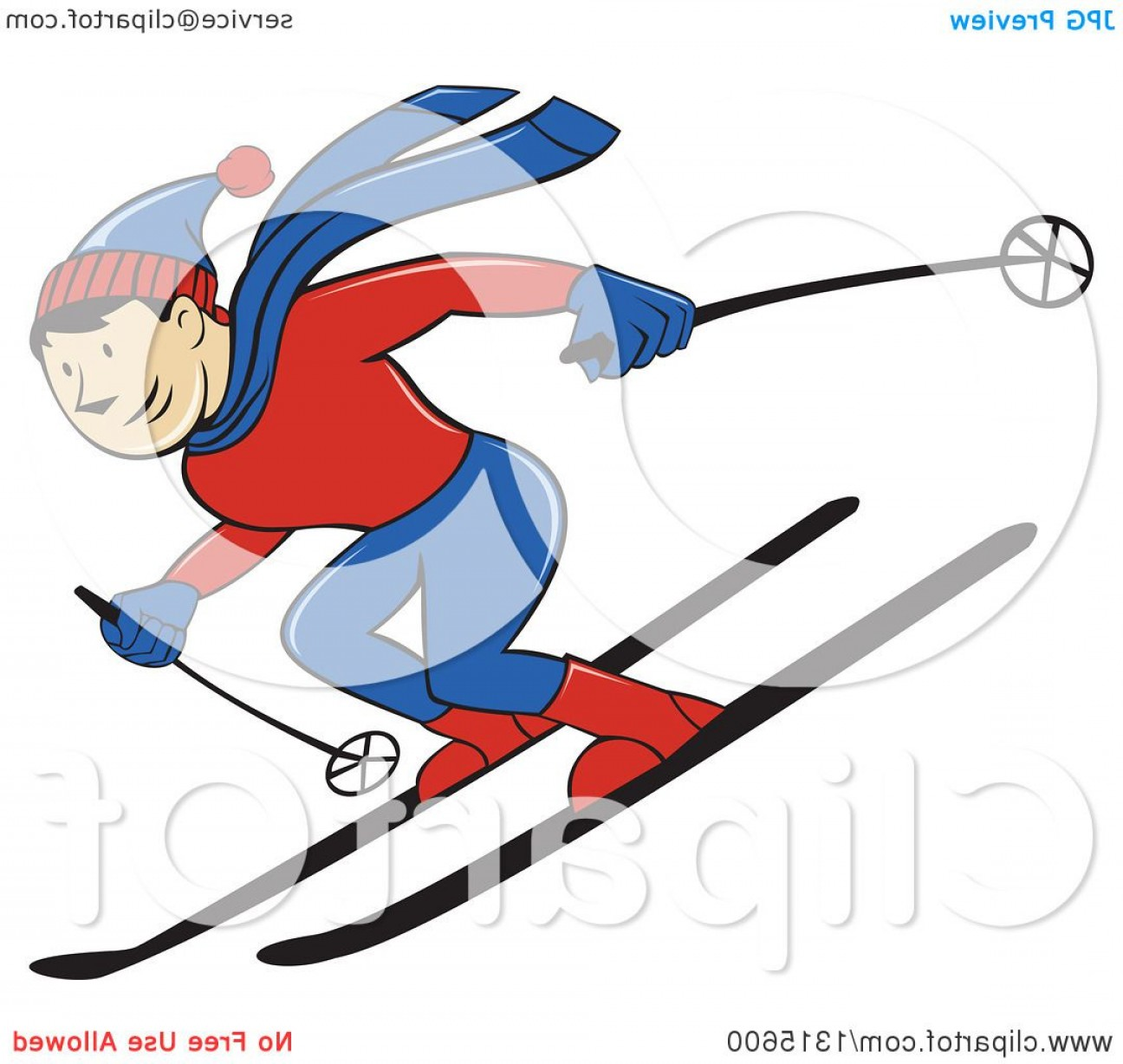 Transparent PNG Vector Skier: Cartoon Happy White Male Skier Going Downhill