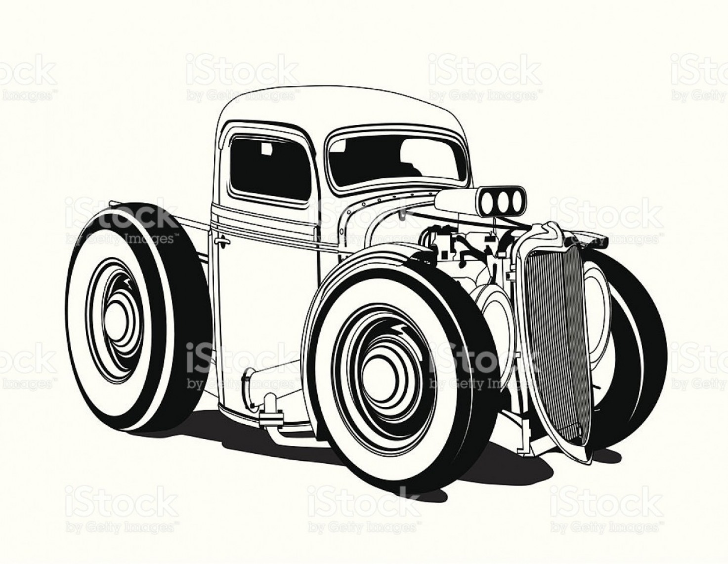 Vector Hot Rod Engines: Cartoon Hot Rod Pickup Black And White Gm