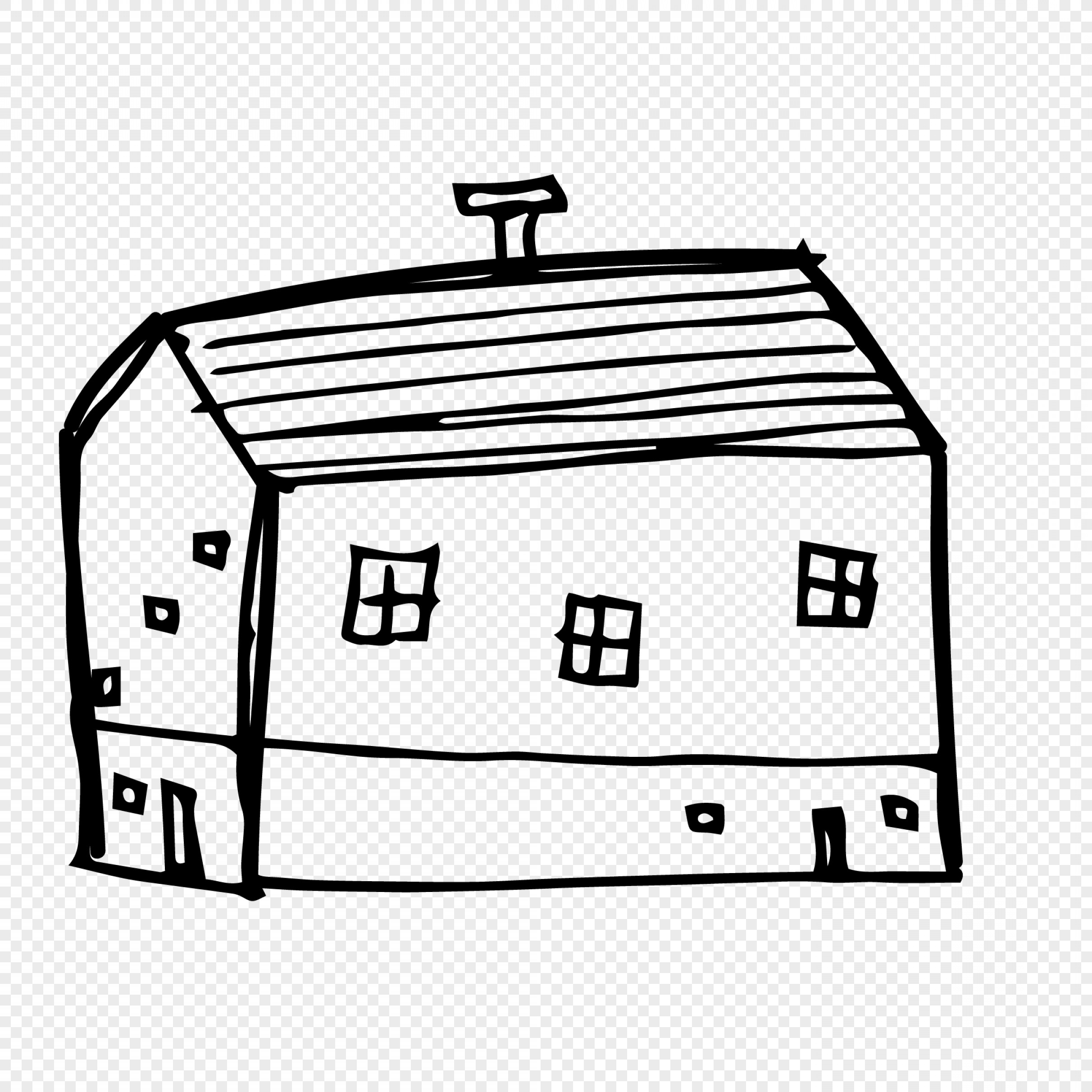 Shed PNG Vector: Cartoon House Line Drawing Building Vector Material