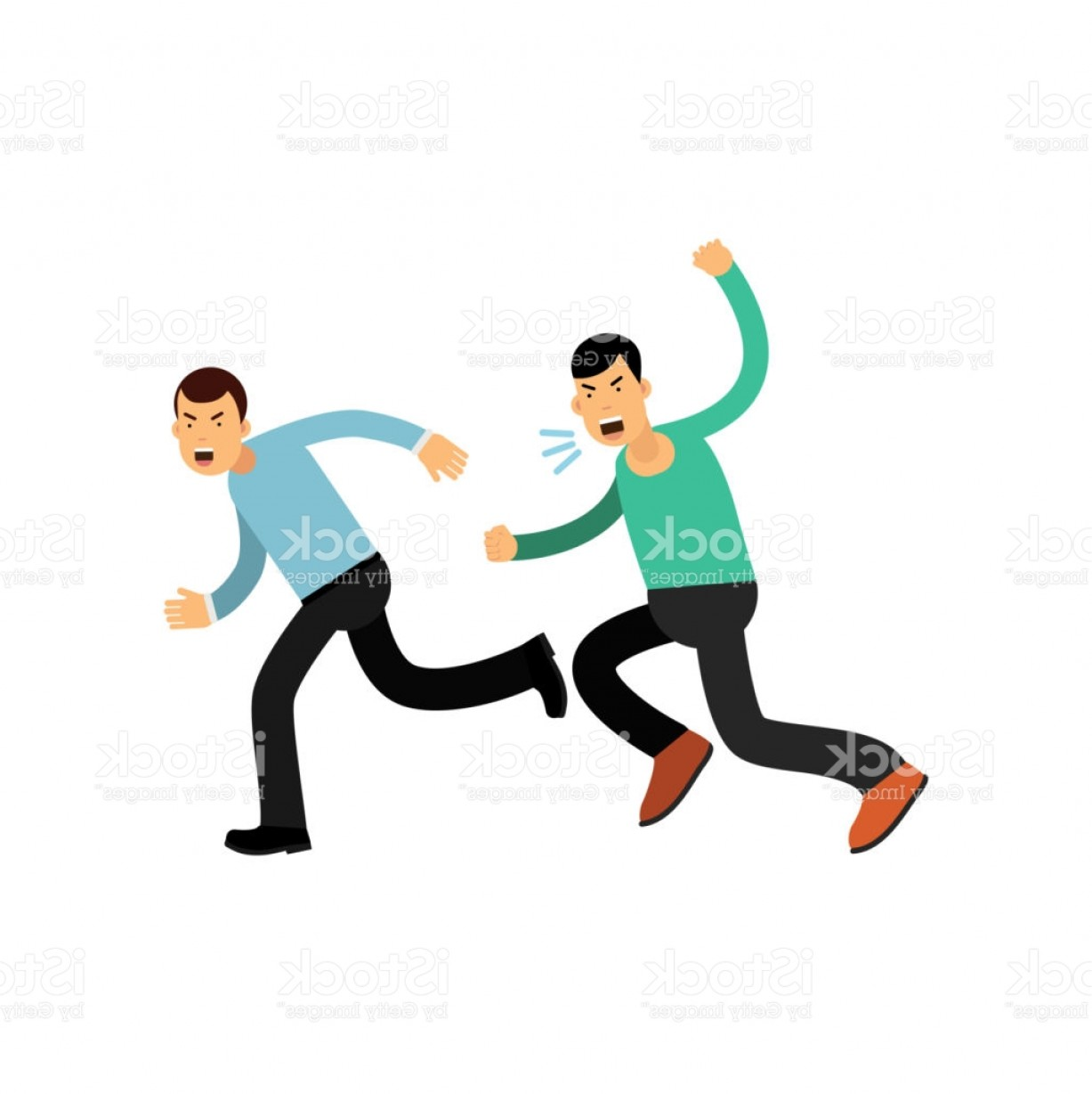 Violent Vector Art: Cartoon Illustration Of Man In Blue Sweater Running Away From Angry Guy Aggressive Gm