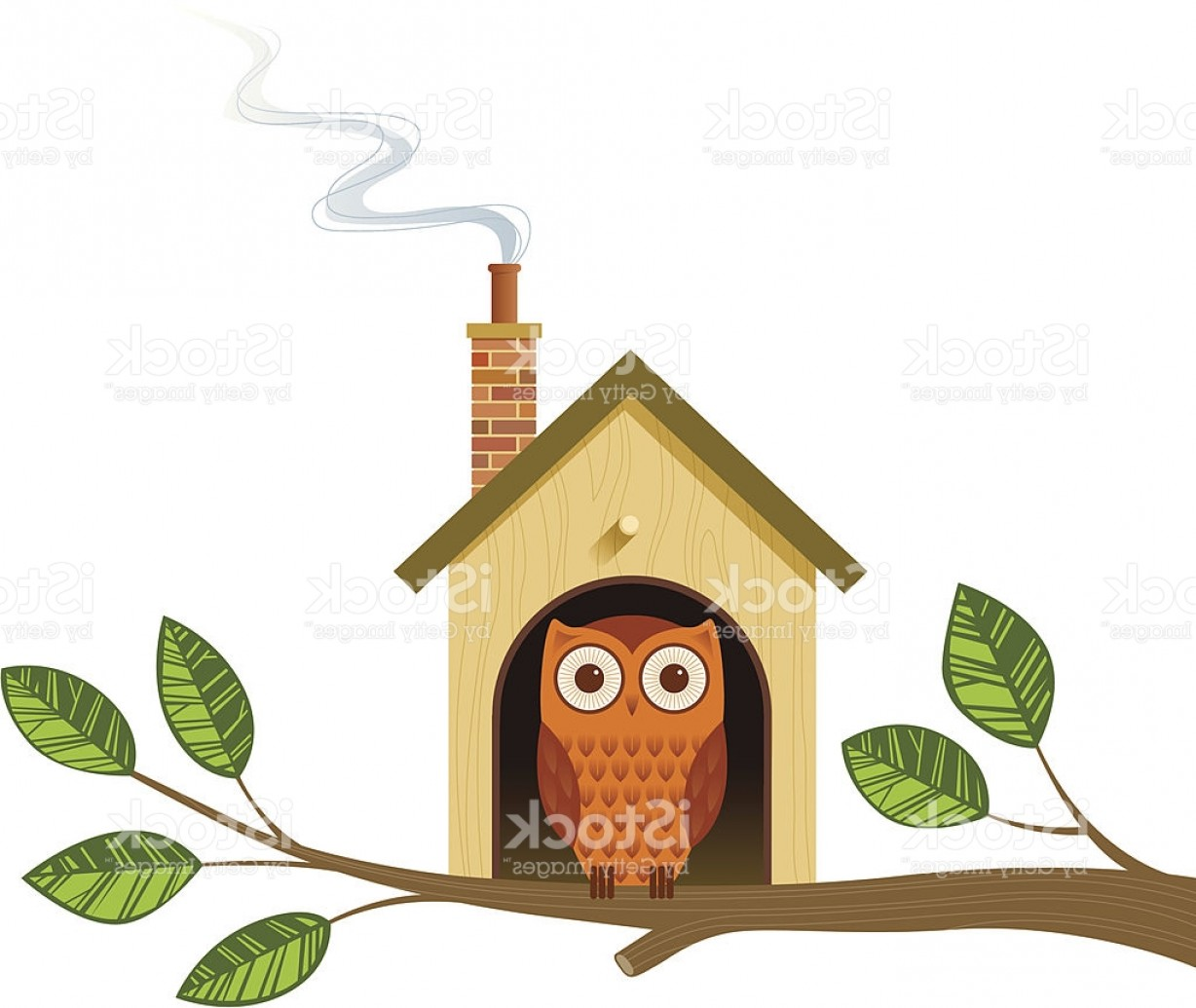Vector Bird House: Cartoon Image Of An Owl In A Little House On A Tree Branch Gm