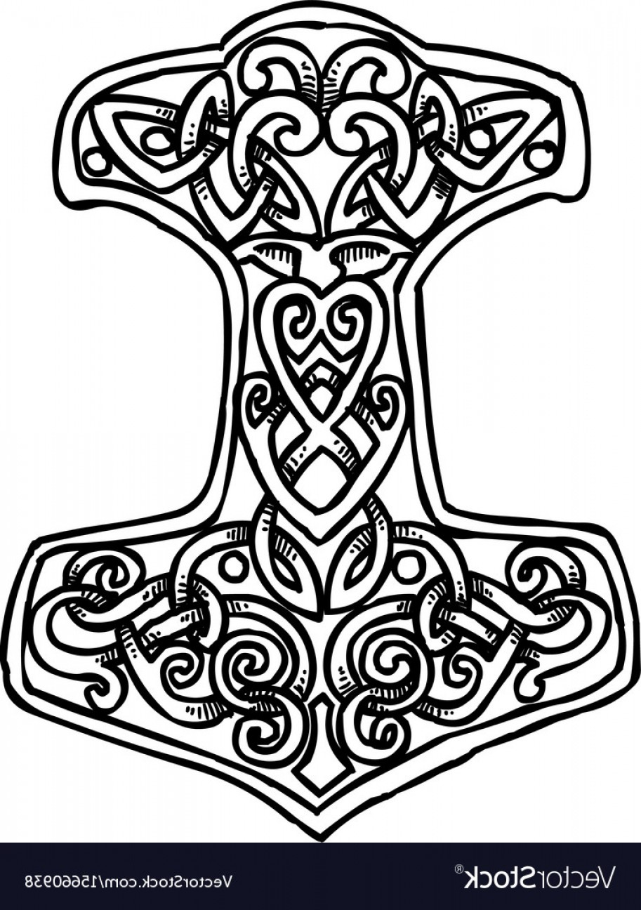 Thor Vector Black: Cartoon Image Of Thor Hammer Icon Vector
