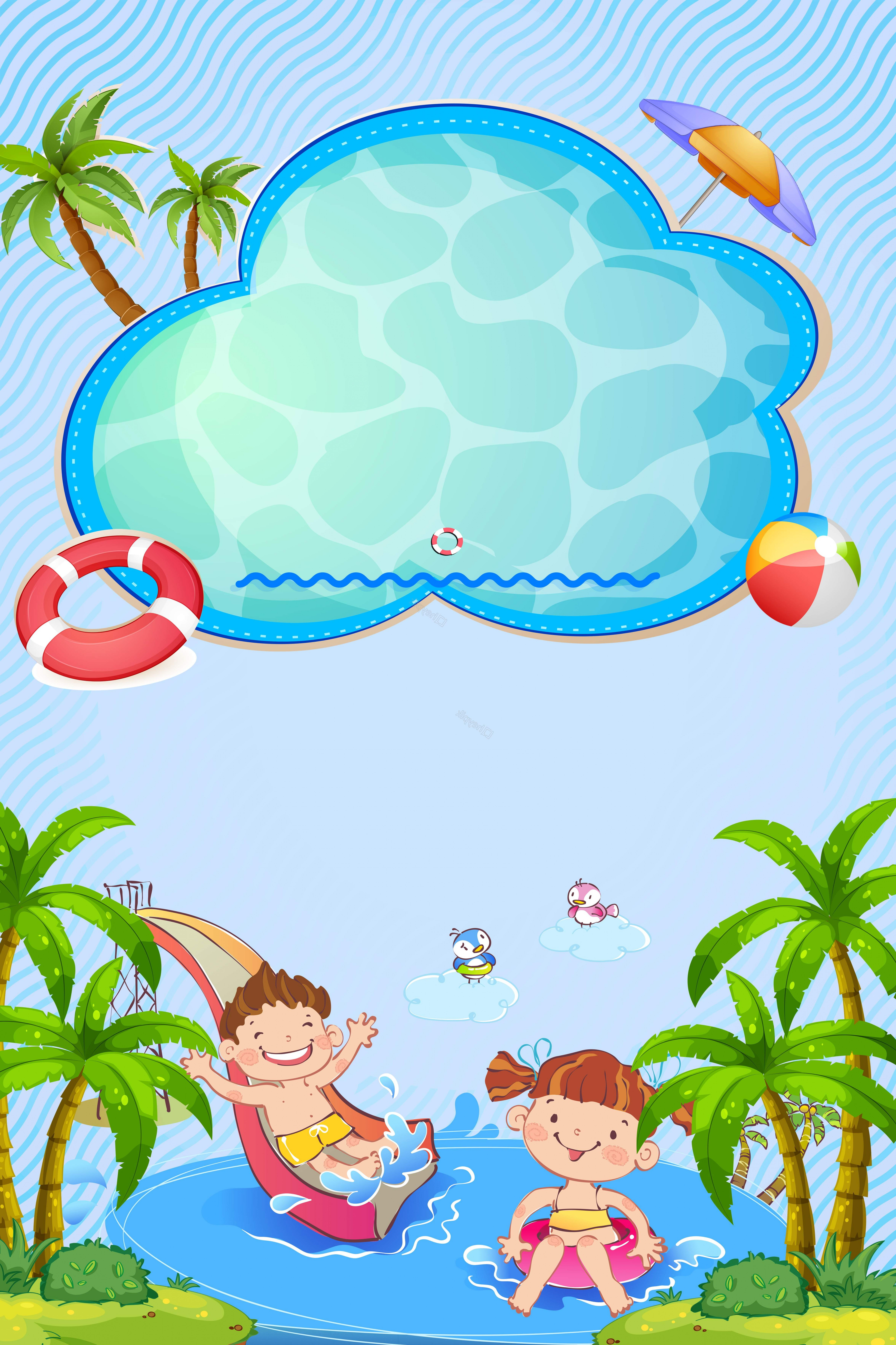 Cartoon Water Background Vector Clip Art: Cartoon Kids Slide Water Park Background Vector
