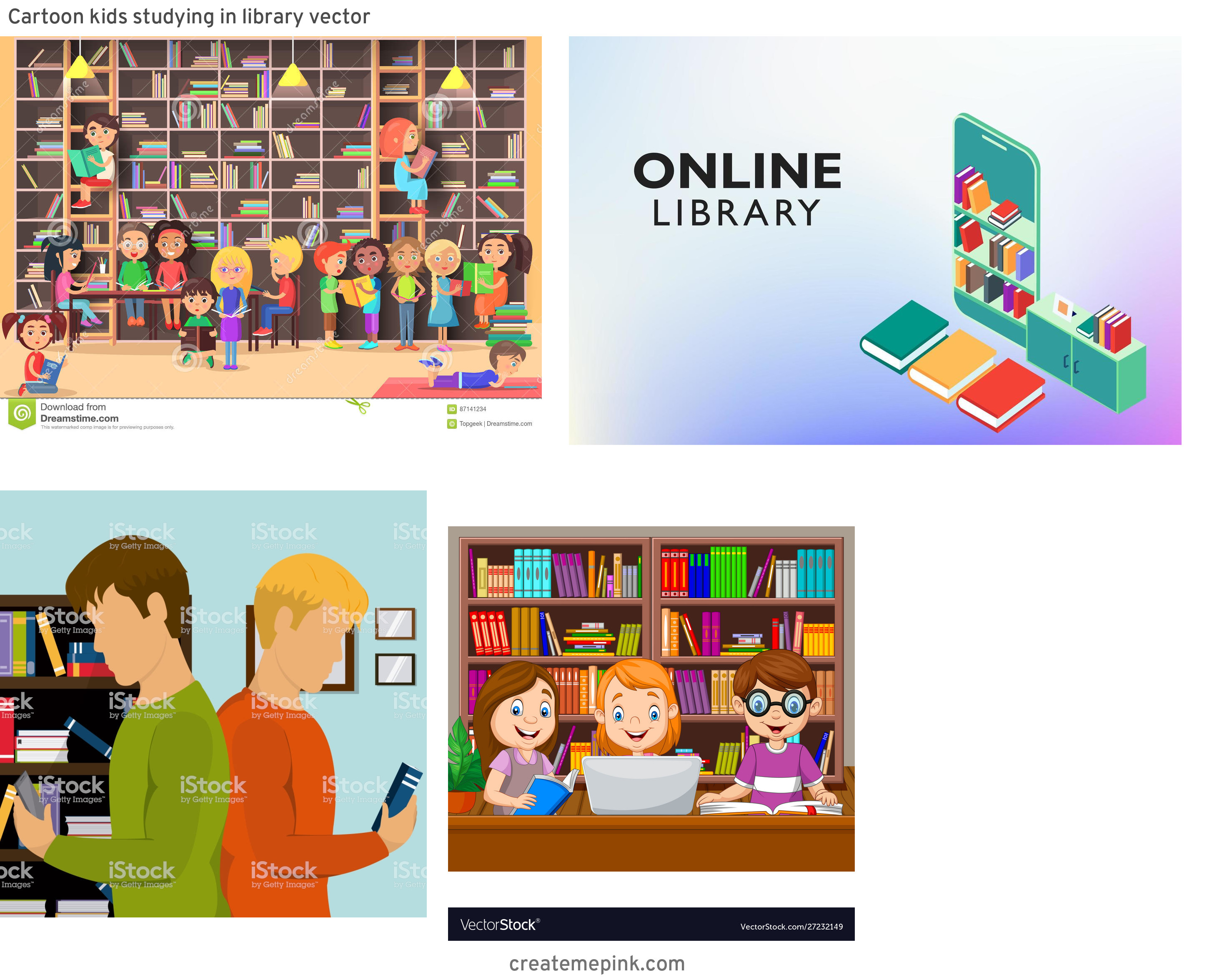 Library Vector Art: Cartoon Kids Studying In Library Vector