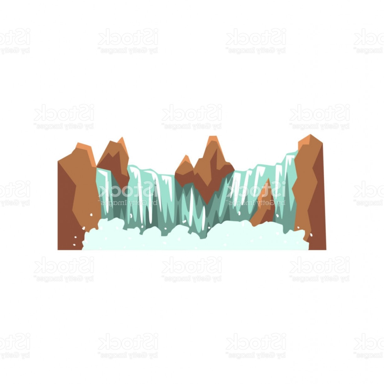 Rocky Mountain Line Art Vector: Cartoon Landscape With Brown Rocky Mountain And Source Of Clean Water Nature Gm