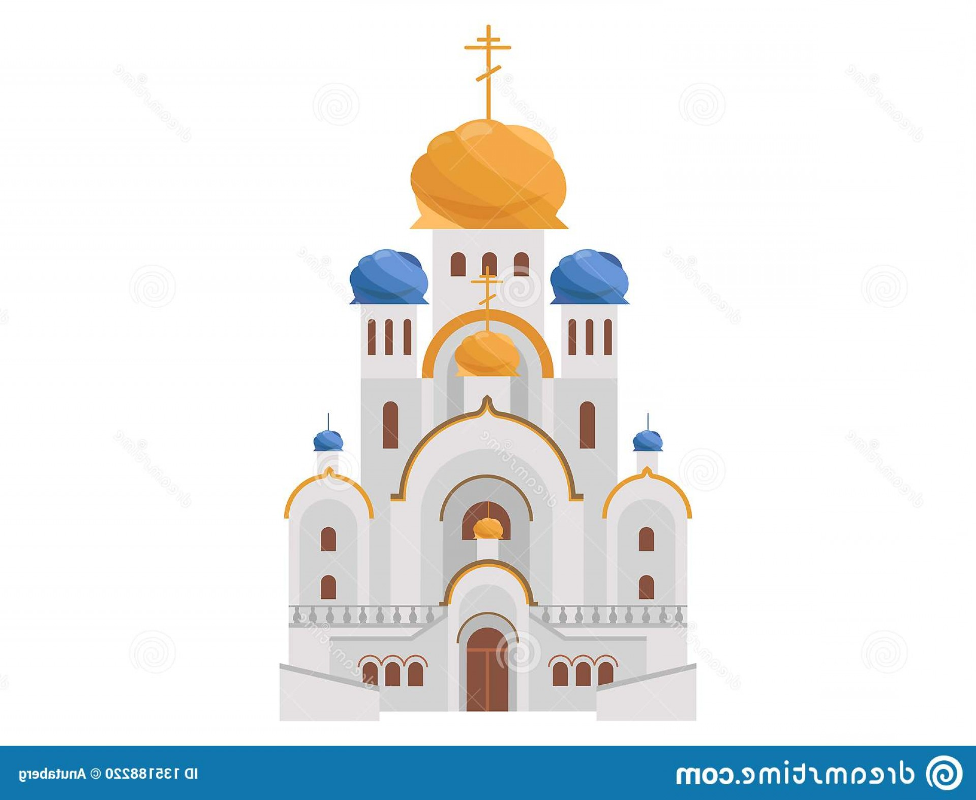 Vector Holy Shrine: Cartoon Luxury Church Gold Blue Domes Holy Place Morning Mass Vector Illustration Christianity Faith Religion Image