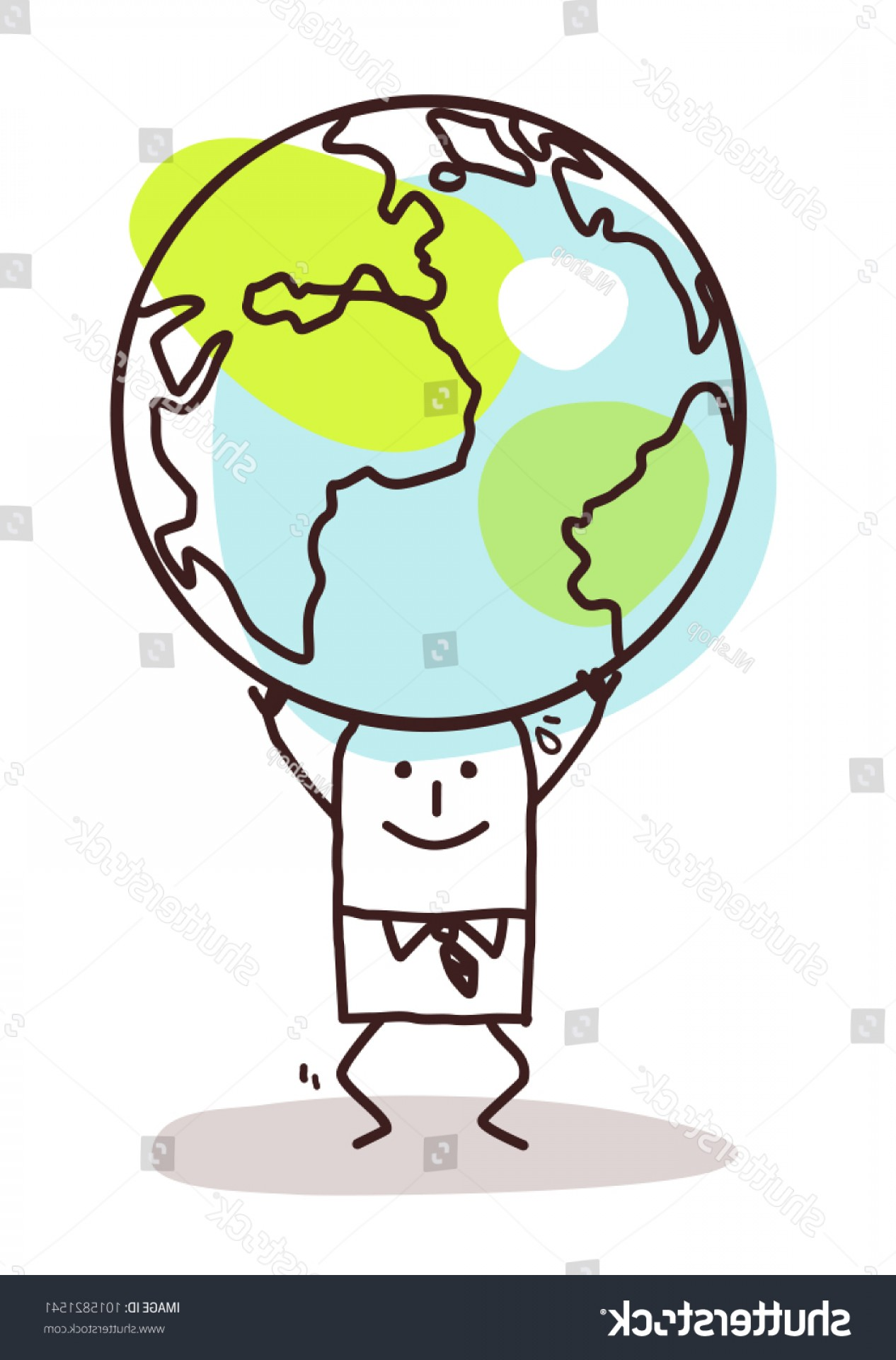 Vector Travel APS: Cartoon Man Carrying Earth On His