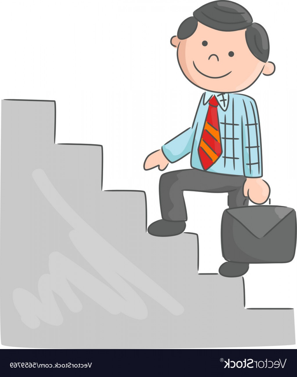 Stair Climb Vector: Cartoon Man Climbing Stairs Vector