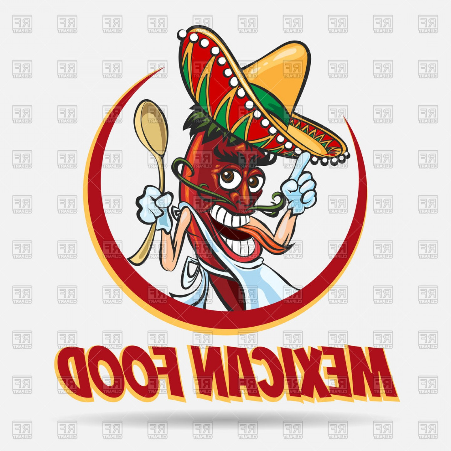 Vector Mexican Chili: Cartoon Mexican Red Chili Pepper In Sombrero Mexican Food Label Vector Clipart
