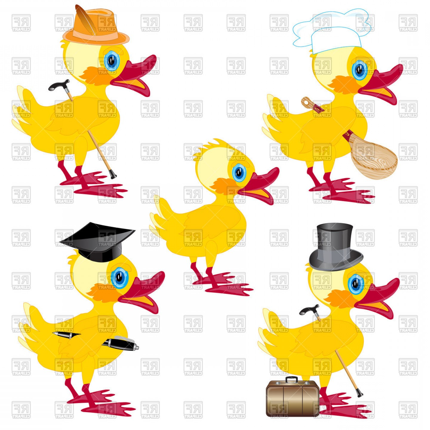 Cartoon Duck Vector: Cartoon Nestling Duck Vector Clipart
