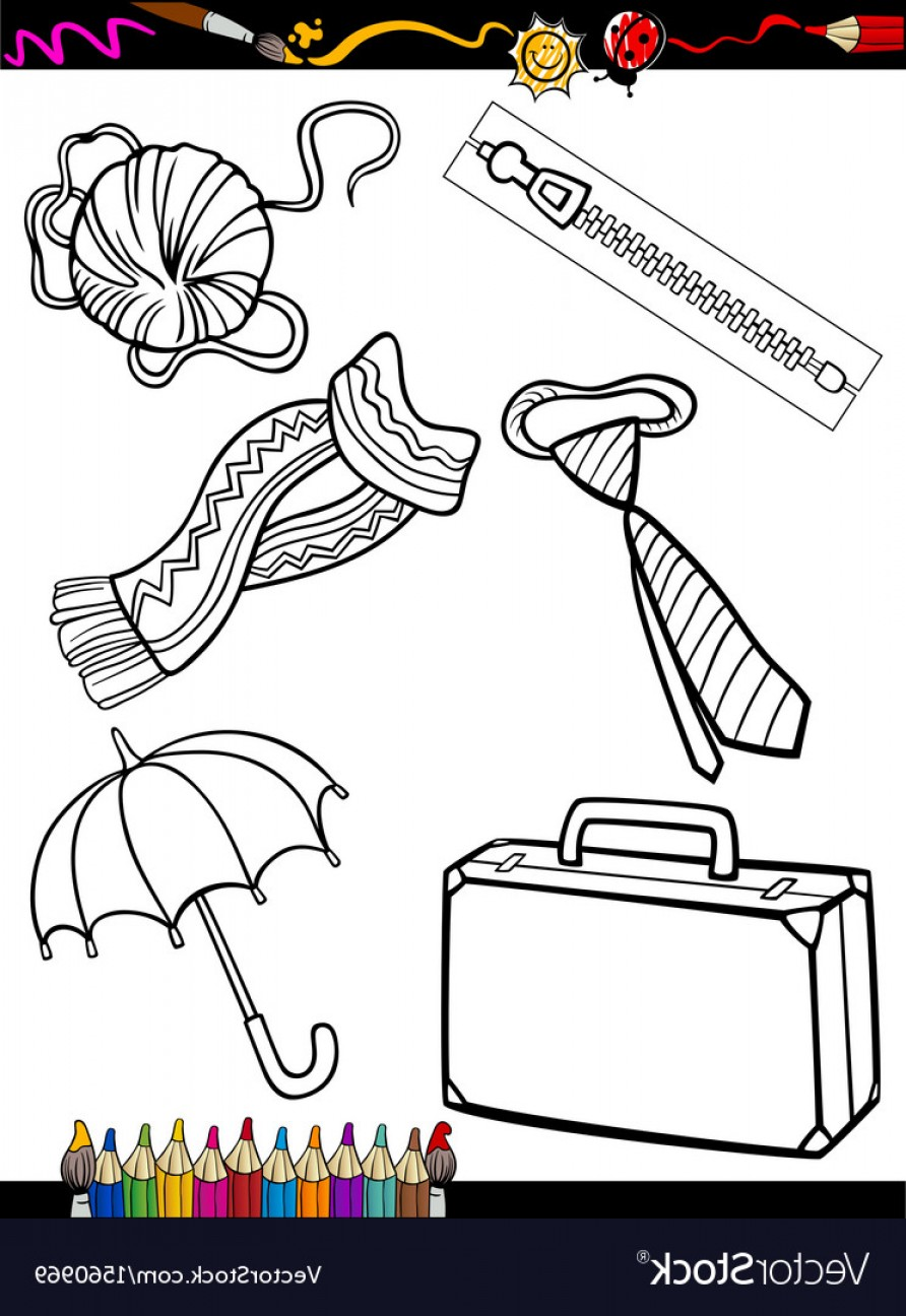 Vector Coloring Sheet: Cartoon Objects Coloring Page Vector
