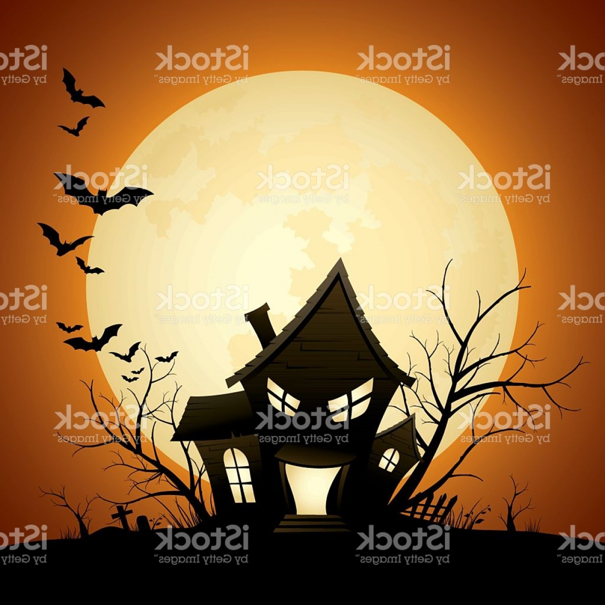 Halloween Haunted House Silhouette Vector: Cartoon Of A Silhouette Of A Scary Haunted House With Bats Gm