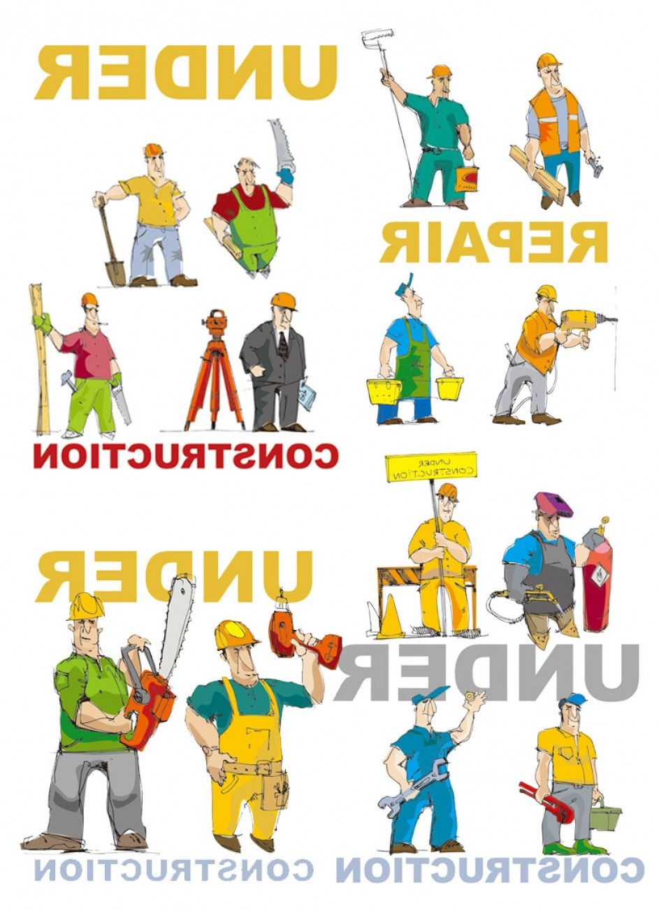 Free Vector Download Sites: Cartoon Of Workers And Tools Vector