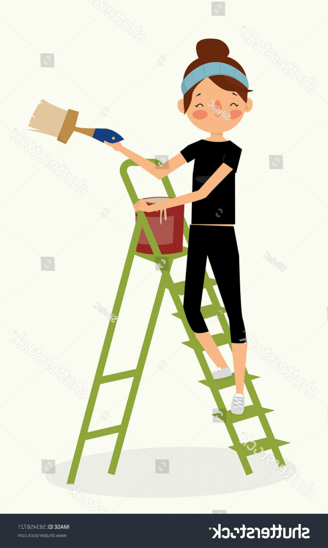 Woman Vector Toon Painter: Cartoon Painter Woman Stairs Vector Illustration
