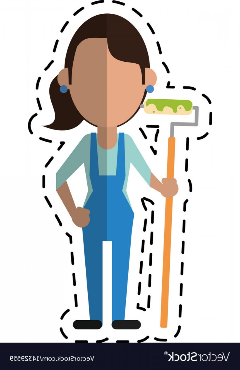 Woman Vector Toon Painter: Cartoon Painter Woman With Overalls And Roller Vector