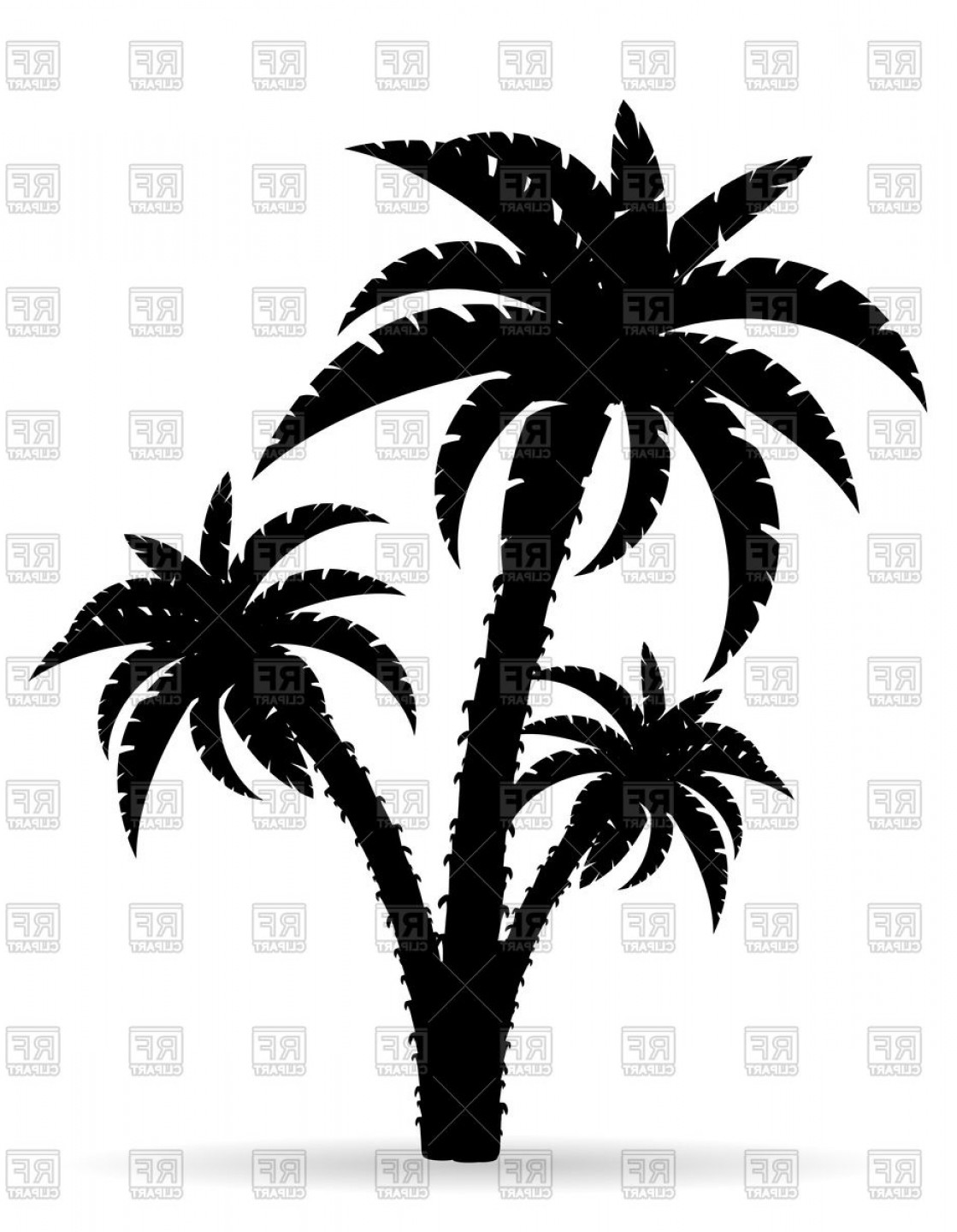 Contoon Free Black Vector Tree: Cartoon Palm Tree Black Outline Silhouette Vector Clipart