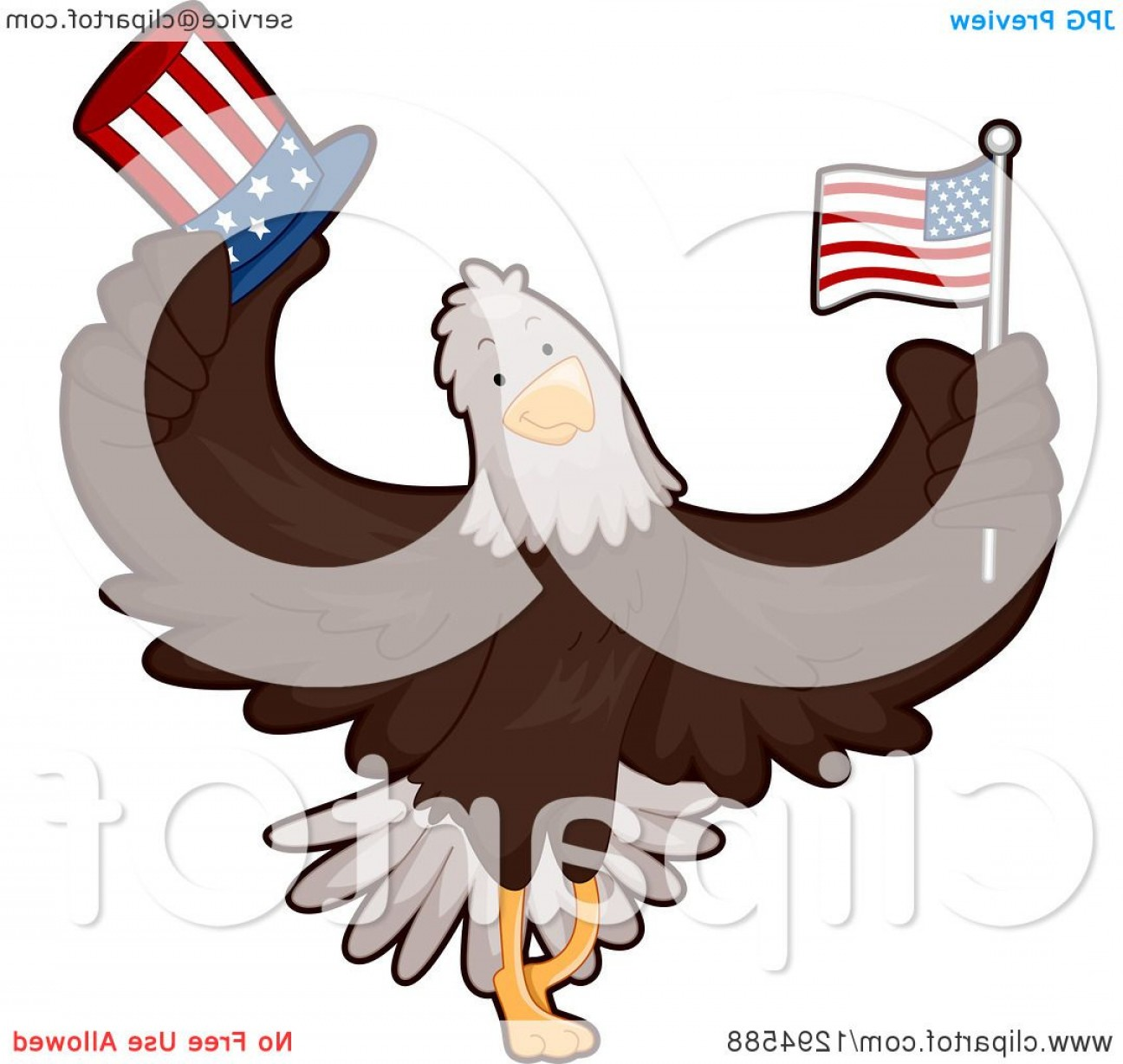 Patriotic Bald Eagle Vector: Cartoon Patriotic Bald Eagle Holding An American Flag And Top Hat