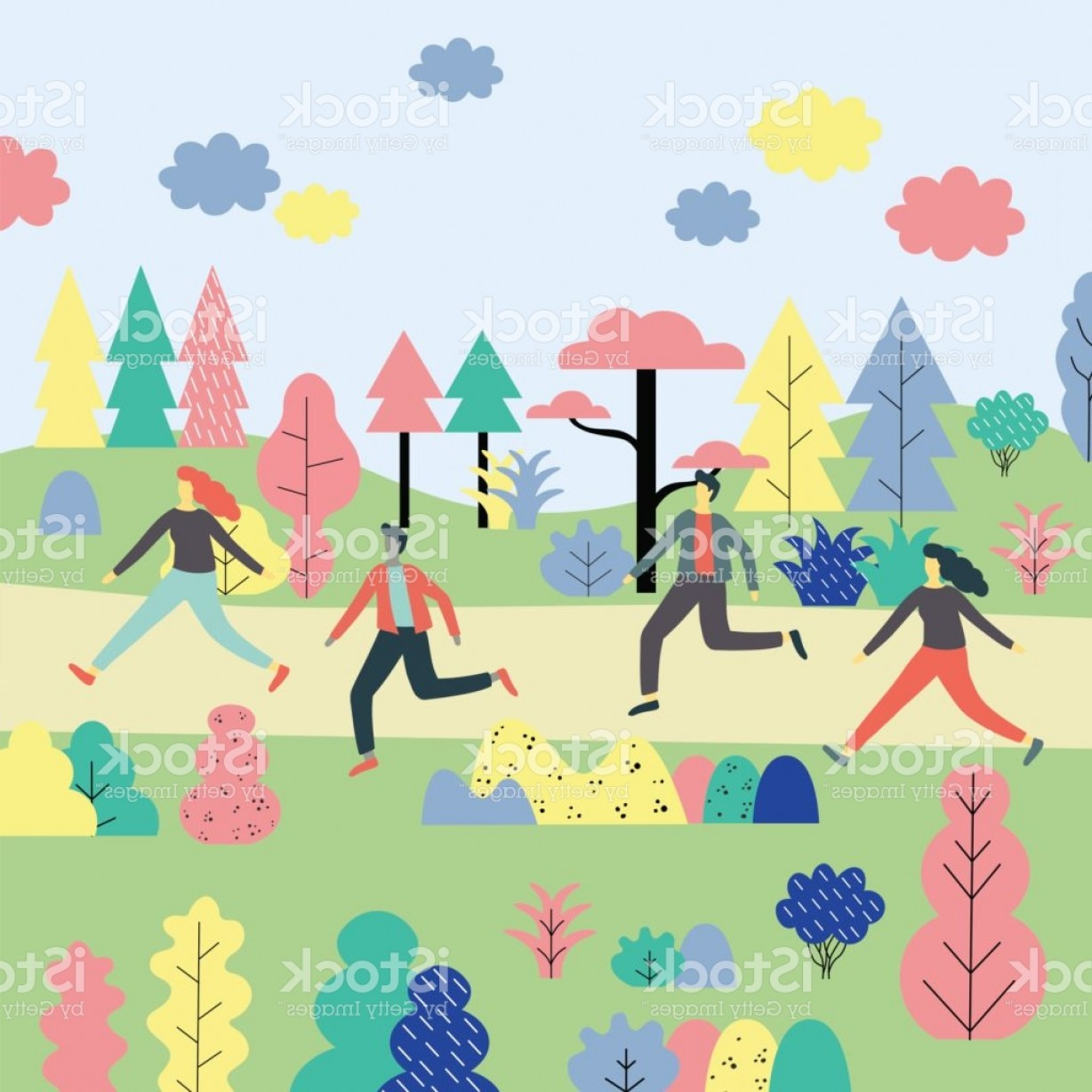 Flat Vector Art And Abstract Forest: Cartoon People Running In A Colorful Forest Abstract Flat Vector Illustration Gm