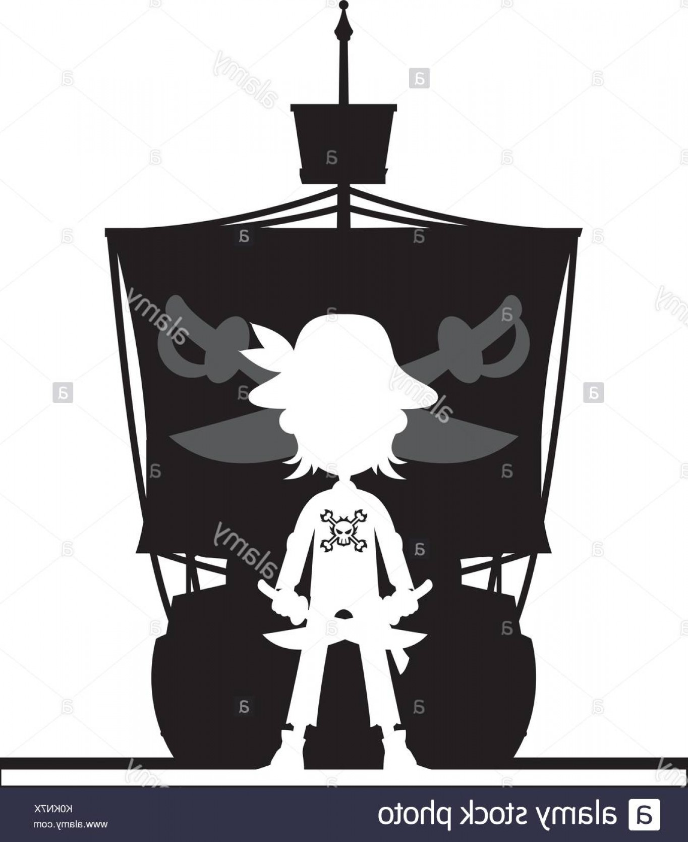 Cartoon Pirate Vector Art: Cartoon Pirate And Pirates Ship In Silhouette Vector Illustration Image