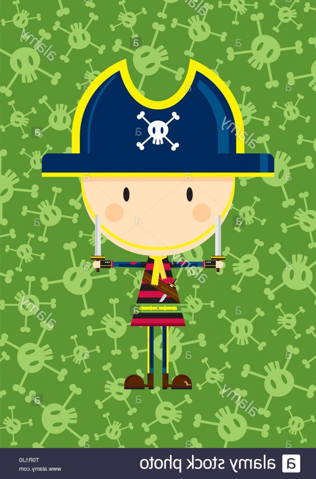 Cartoon Pirate Vector Art: Cartoon Pirate Captain With Sword On A Skull And Crossbones Background Image
