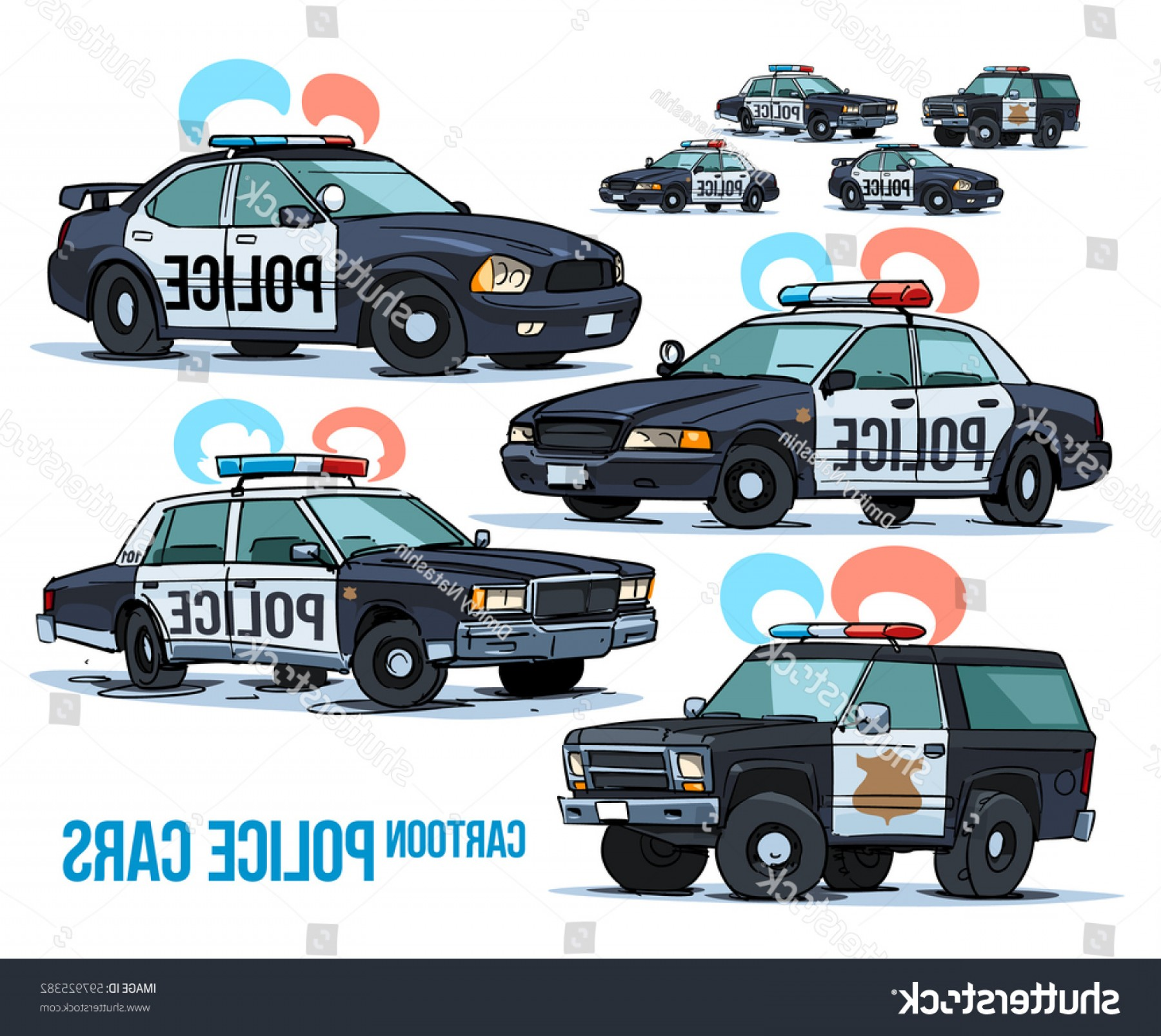 Custom Police Cars Vector: Cartoon Police Cars Isolated On White