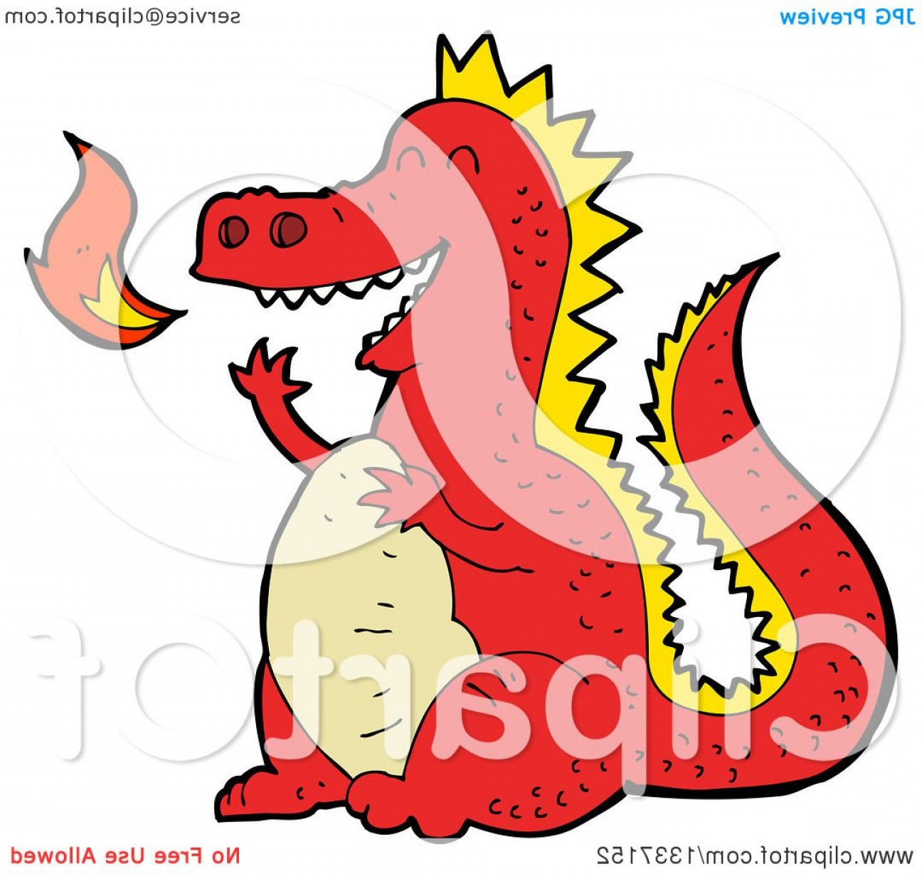 Dragon Fire Vector: Cartoon Red Fire Breathing Dragon