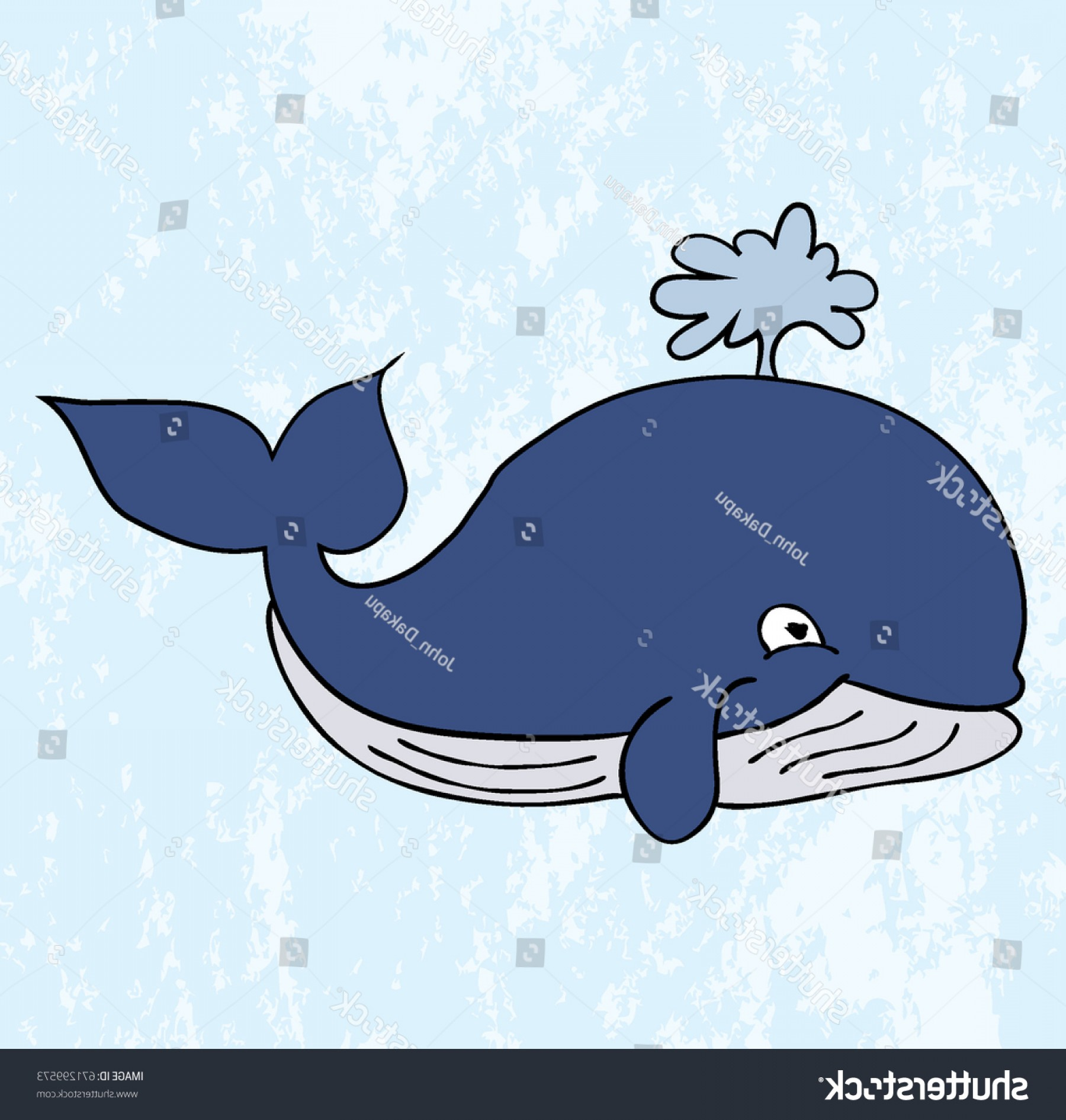 Cartoon Water Background Vector Clip Art: Cartoon Retro Whale Spouting Water Background