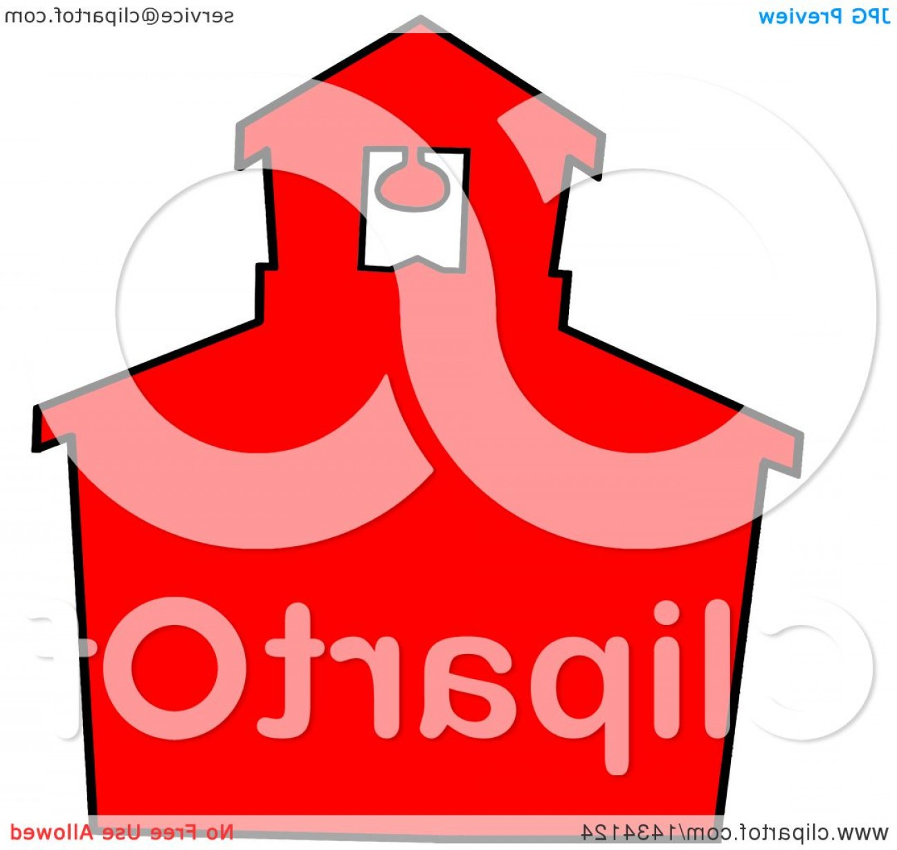 Vector Clip Art Red Schoolhouse: Cartoon Silhouetted Red School House With A Black Outline