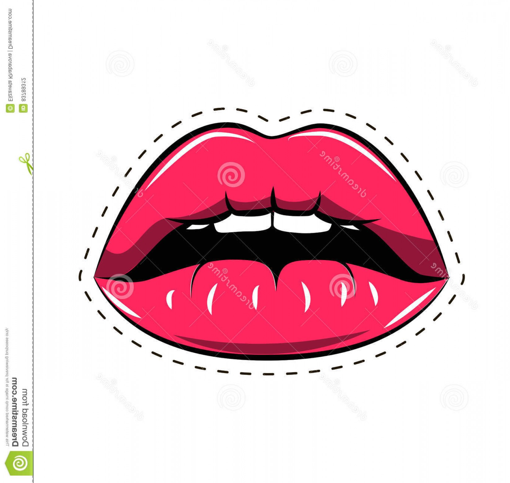 Vector Female Lips: Cartoon Smile Mouth Lips Teeth Tongue Vector Illustration Isolated White Background