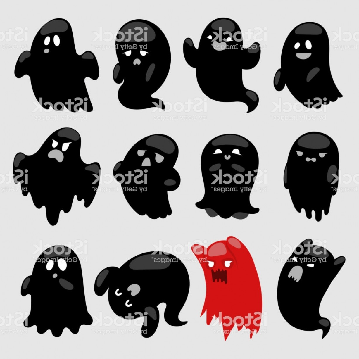 Ghost Vector Black: Cartoon Spooky Ghost Vector Character Illsutartion Black And Red Spooky Scary Gm