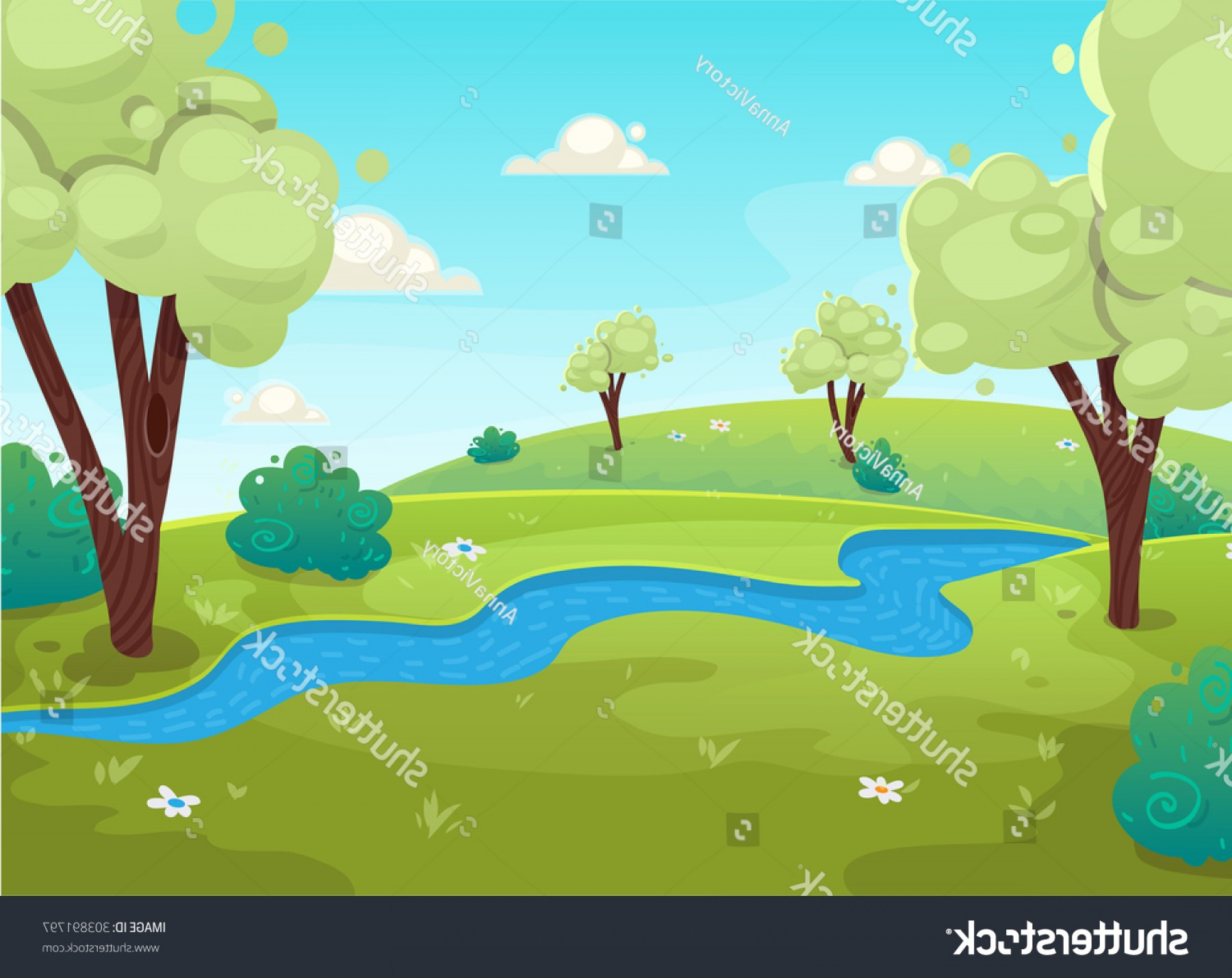 River Vector Art: Cartoon Style River Forest Tree Bushes