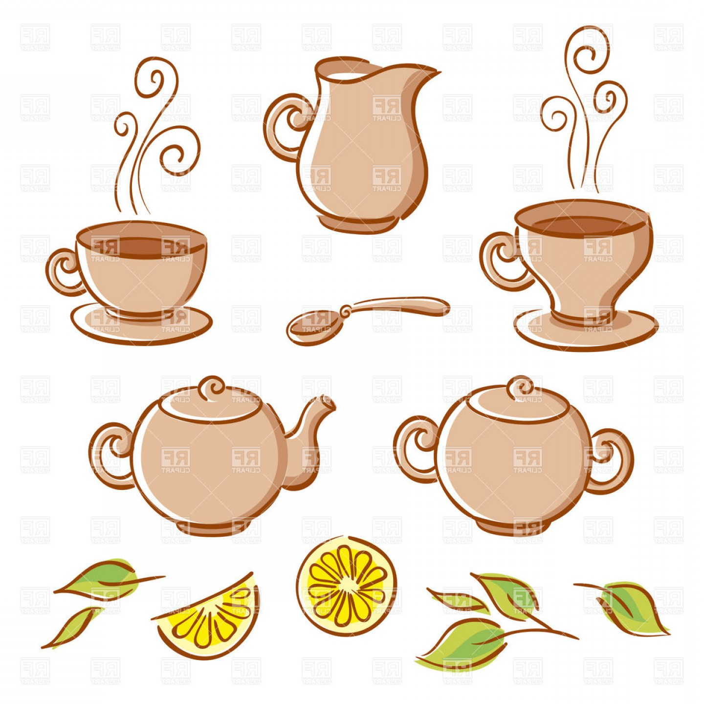 Tea Set Vector: Cartoon Tea Set Cups Pots Jug Spoon And Lemon Vector Clipart