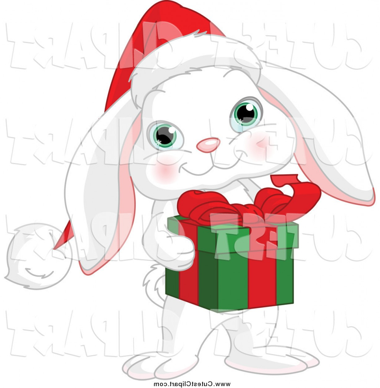 Image Vector Clip Art Bunny Bunny: Cartoon Vector Clip Art Of A Cute White Christmas Bunny Rabbit Holding A Gift By Pushkin