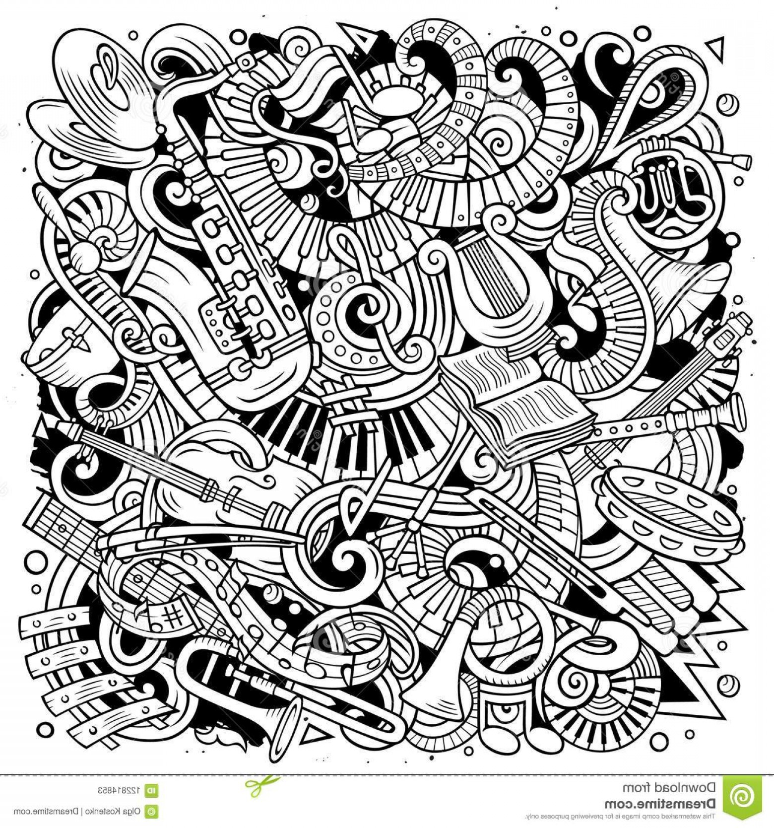 Musical Vector Artwork: Cartoon Vector Doodles Classic Music Illustration Line Art Detailed Lots Objects Background All Objects Separate Sketchy Image