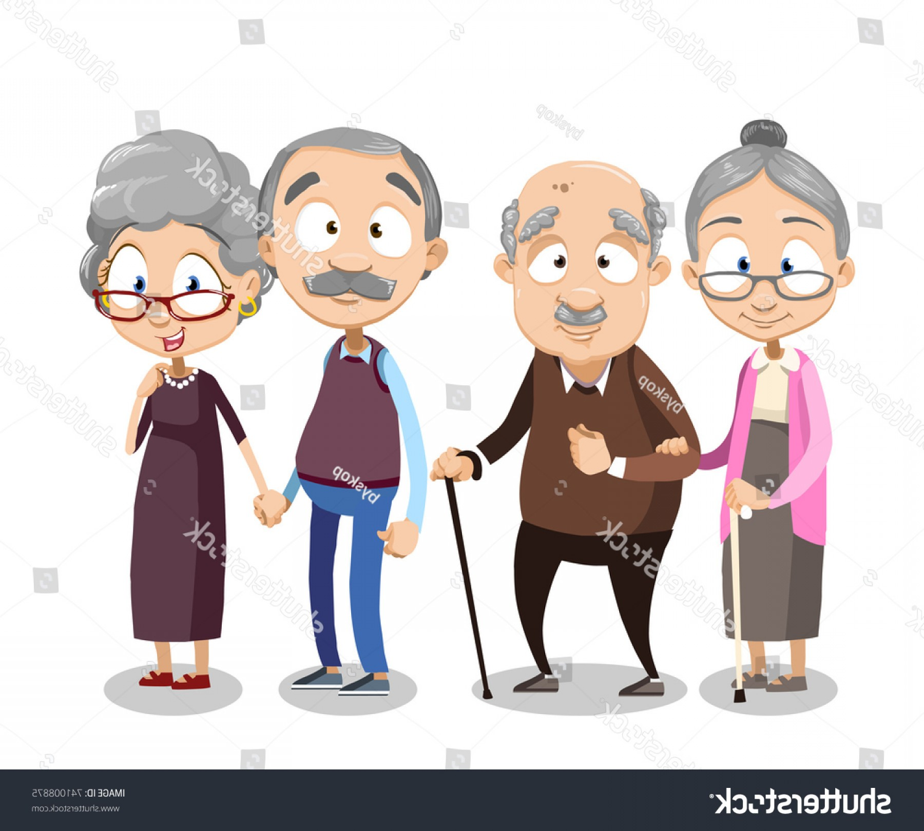 Happy Elderly Vector: Cartoon Vector Illustration Group Old People