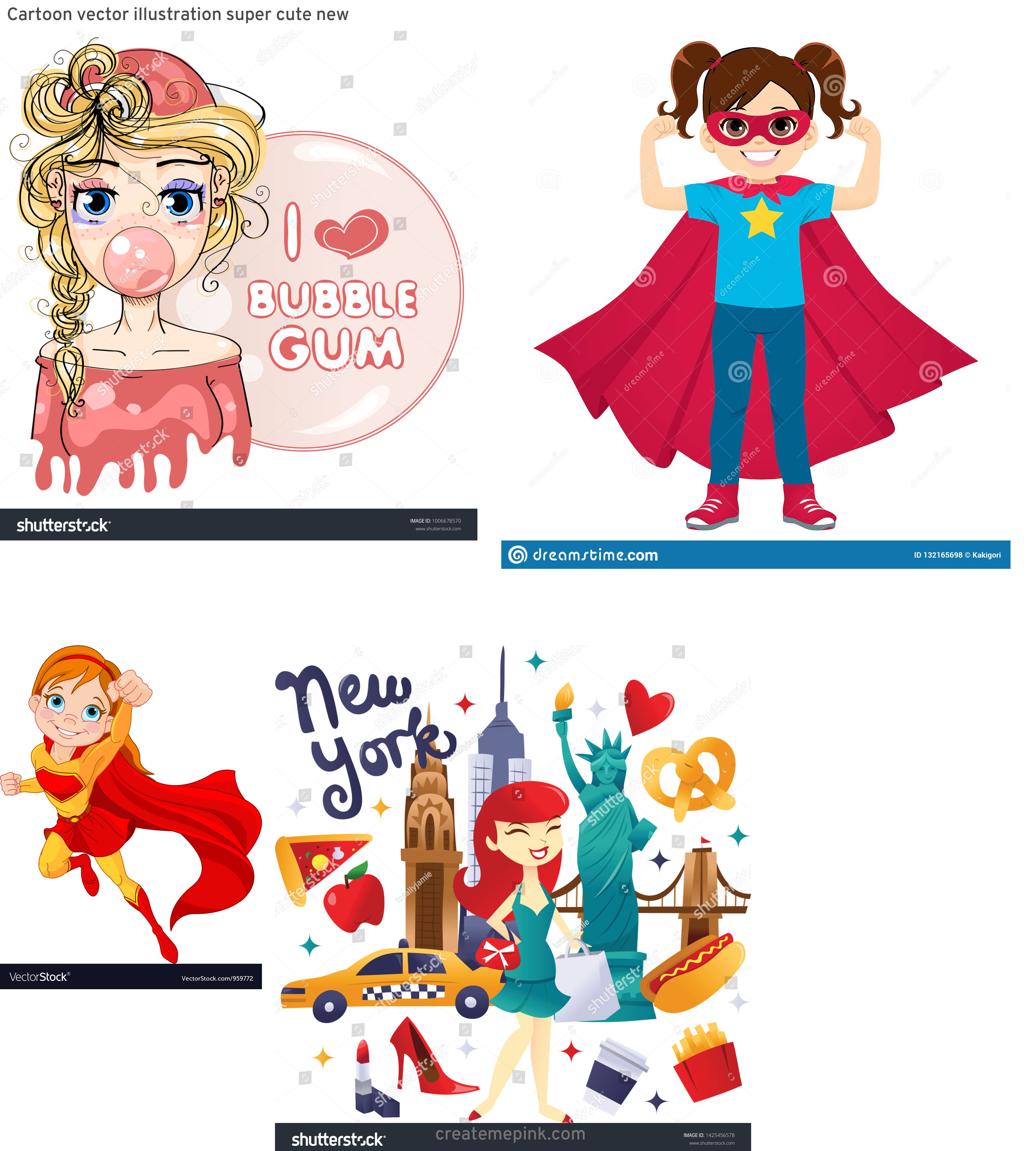 Super Cute Cartoon Girl Vector: Cartoon Vector Illustration Super Cute New