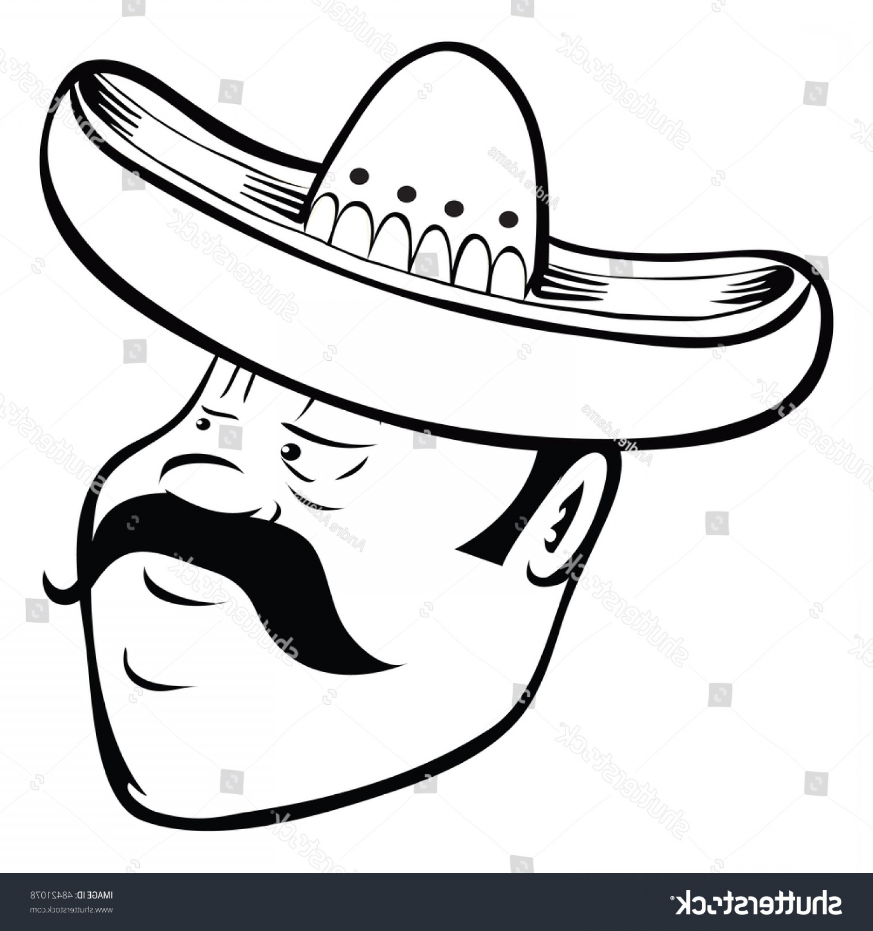 Sombrero Vector Outline: Cartoon Vector Outline Illustration Mexican Sombrero