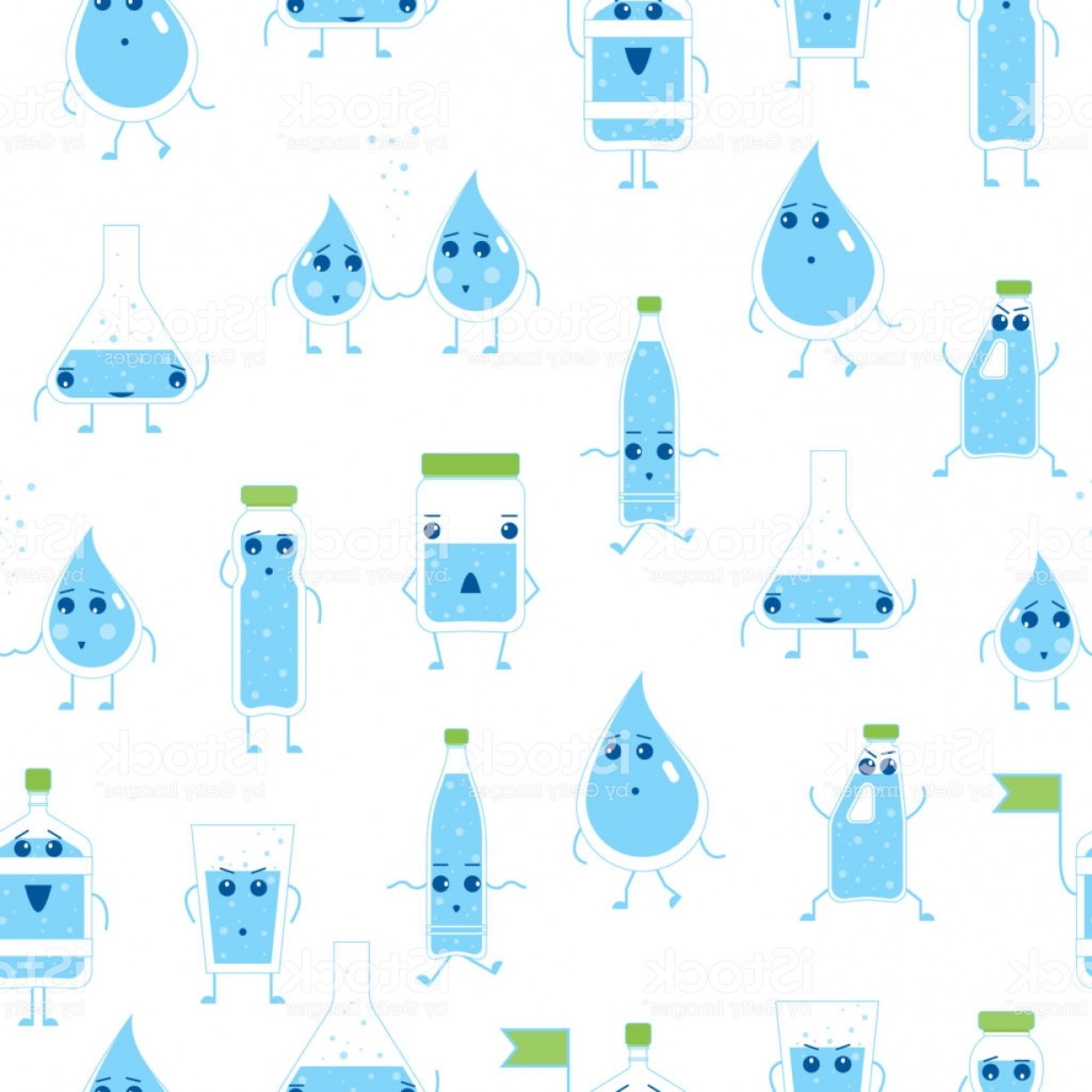 Cartoon Water Background Vector Clip Art: Cartoon Water Funny Emotions Bottle Seamless Pattern Background Vector Gm