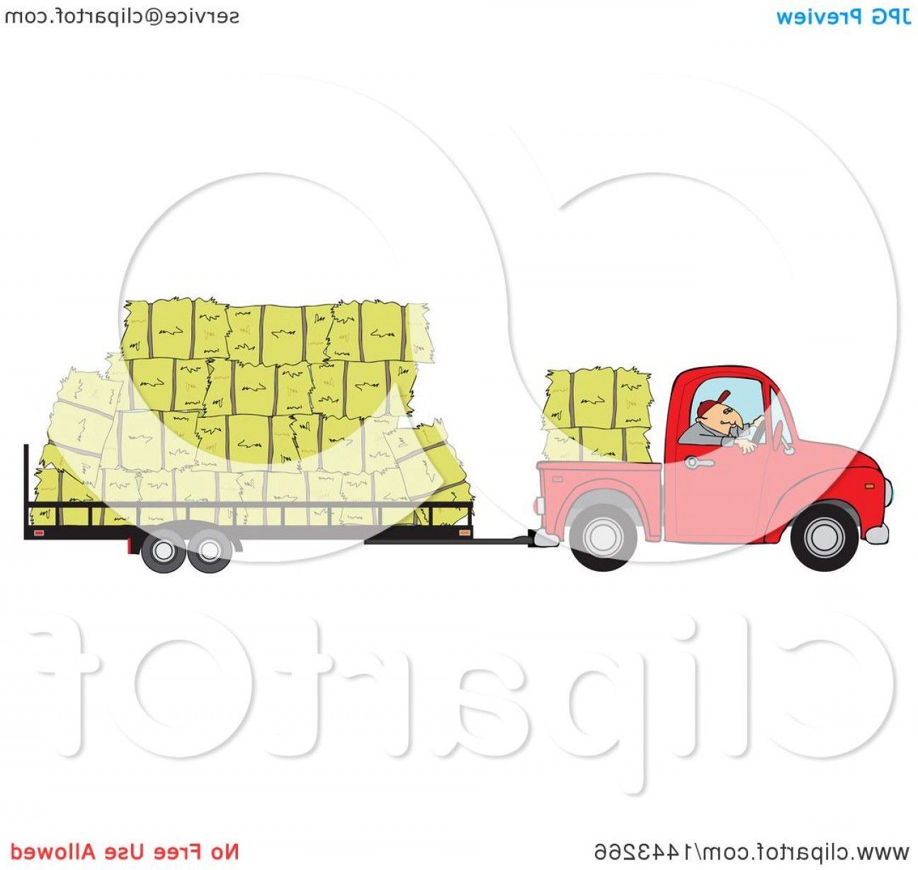 Vector Truck And Trailer Hauling: Cartoon White Man Driving A Red Pickup Truck And Hauling Hay Bales On A Trailer