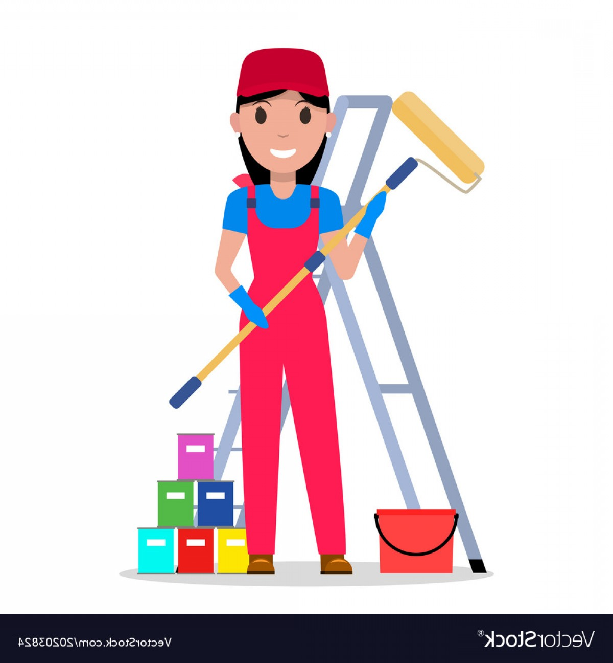 Woman Vector Toon Painter: Cartoon Woman Painter With Tools Painting Vector
