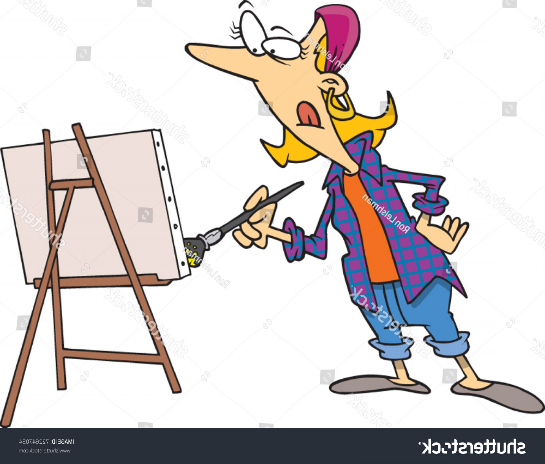Woman Vector Toon Painter: Cartoon Woman Painting Canvas Easel