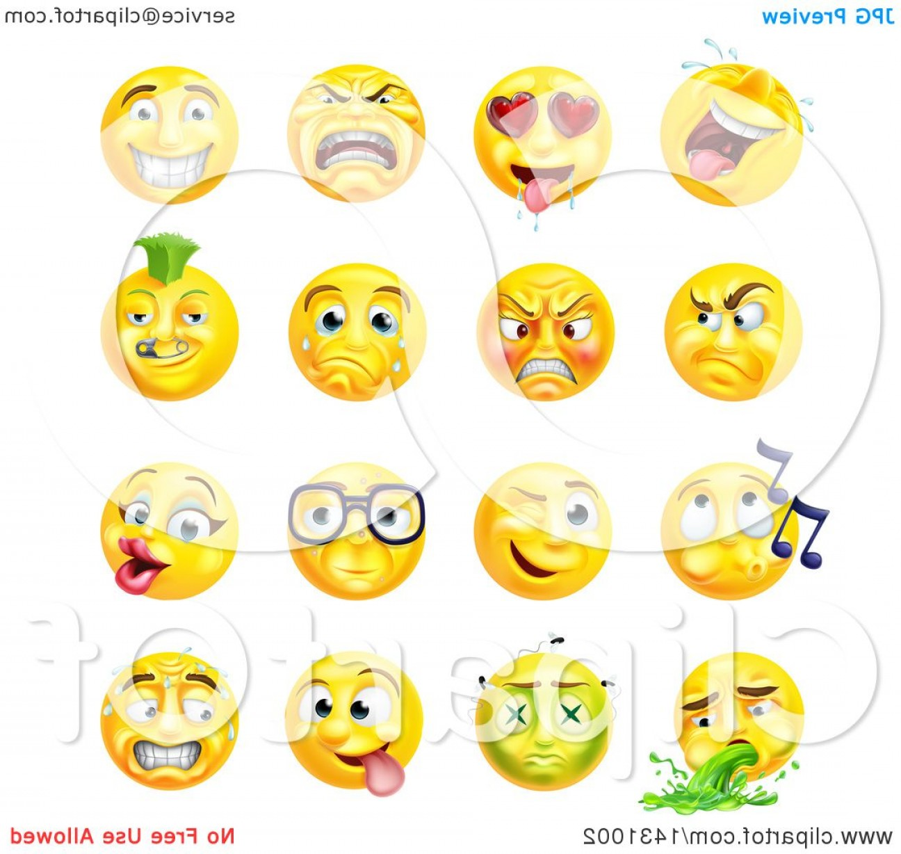 Rainbow Face Emoji Vector: Cartoon Yellow Emoji Smiley Face Emoticons