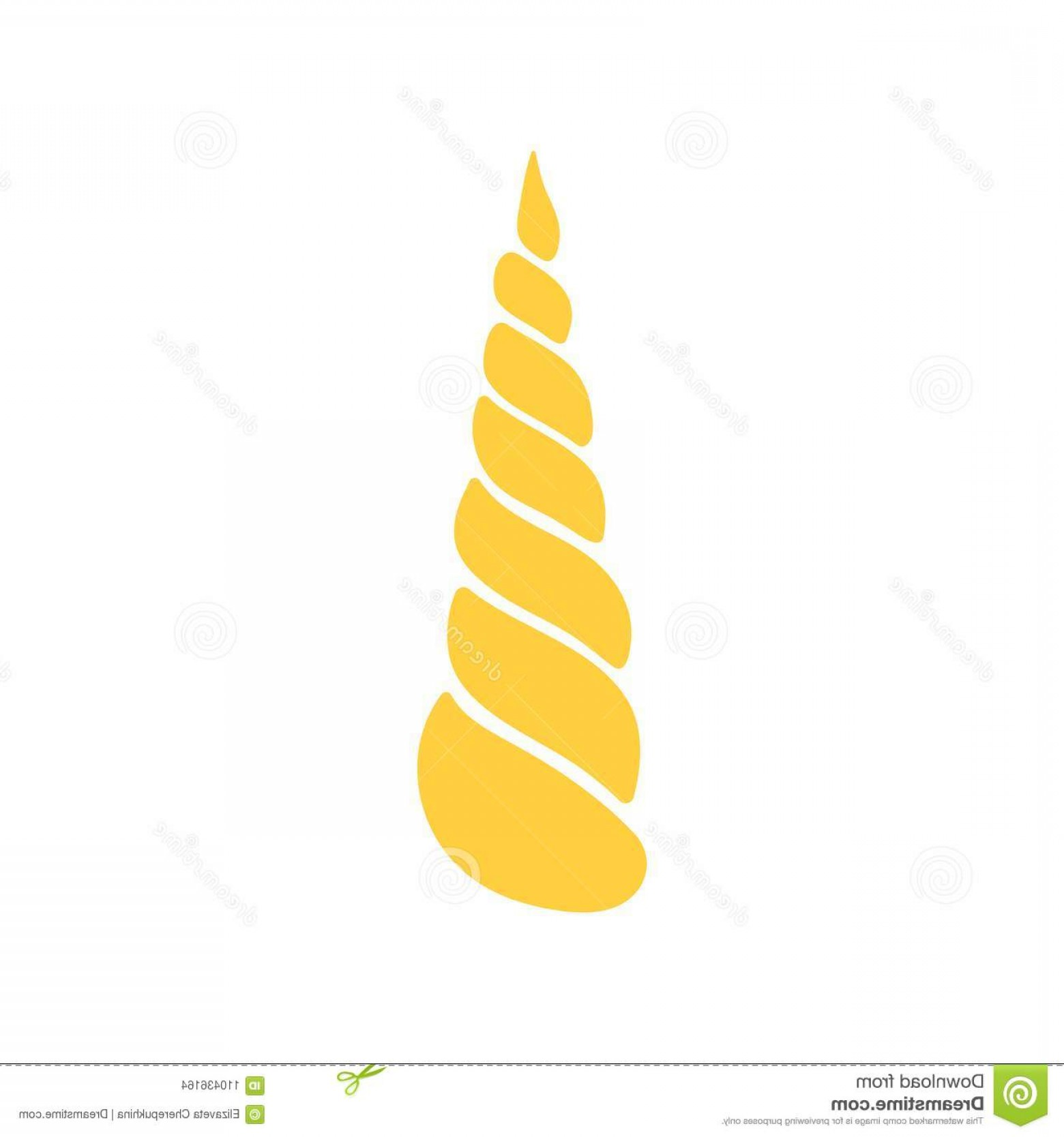 Unicorn Horn Vector: Cartoon Yellow Horn Unicorn Isolated White Background Vector Cartoon Yellow Horn Unicorn Isolated White Background Image