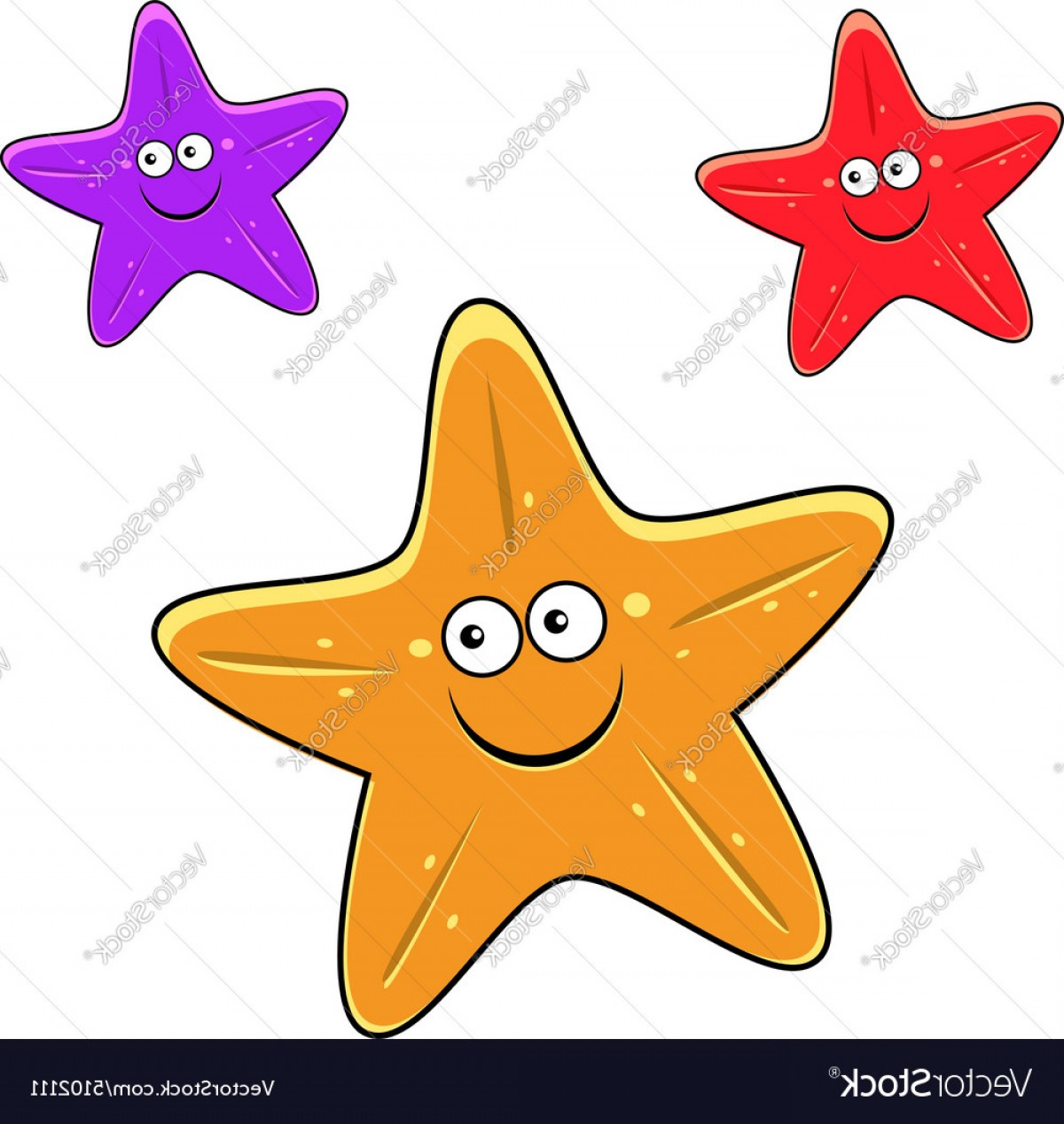 Starfish Cartoon Images Vector: Cartoon Yellow Red And Violet Starfish Characters Vector