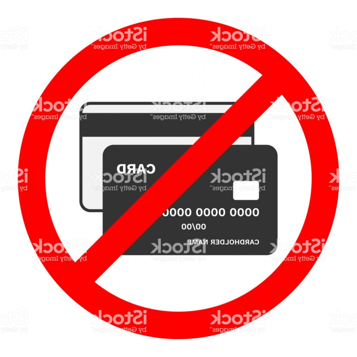 Vector Cards Accepted: Cash Only Sign No Credit Cards Accepted Bank Card Icon In Red Crossed Out Circle Gm