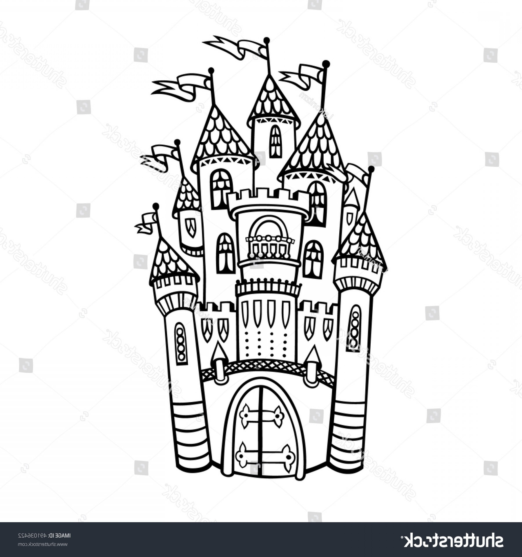 Hand Drawn Vector Fairy Tale: Castle Illustration Vector Isolated Drawing Medieval