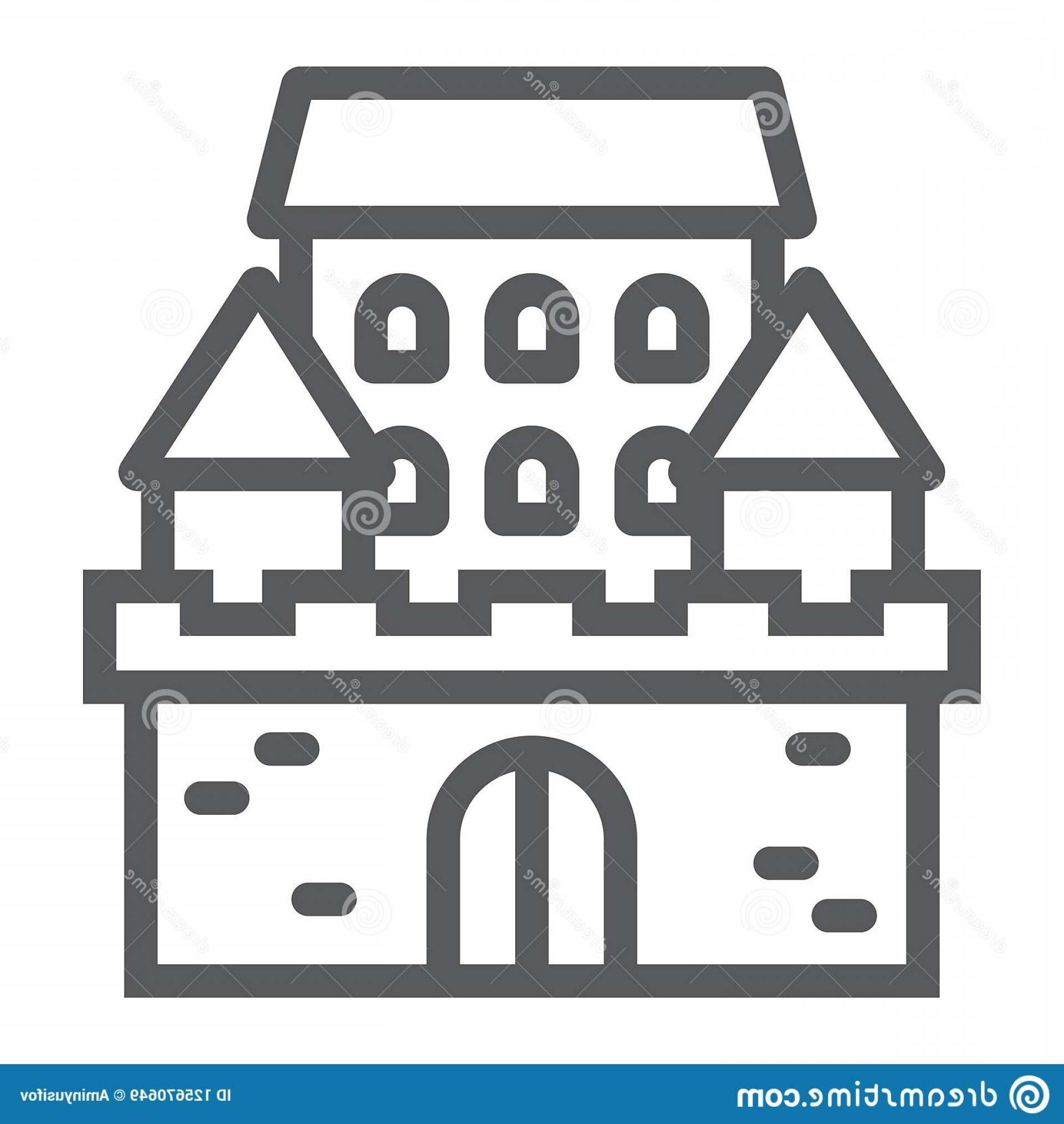 Vector House Sign: Castle Line Icon Architecture Fort Haunted House Sign Vector Graphics Linear Pattern White Background Eps Castle Line Image
