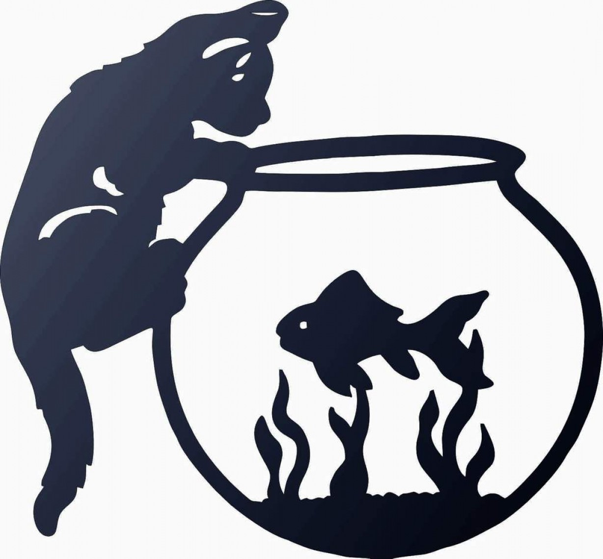 Plasma Art Fishing Vector Files: Cat And Fish Dxf Of Plasma Router Laser Cut Cnc Vector Dxf Cdr Ai Jpeg